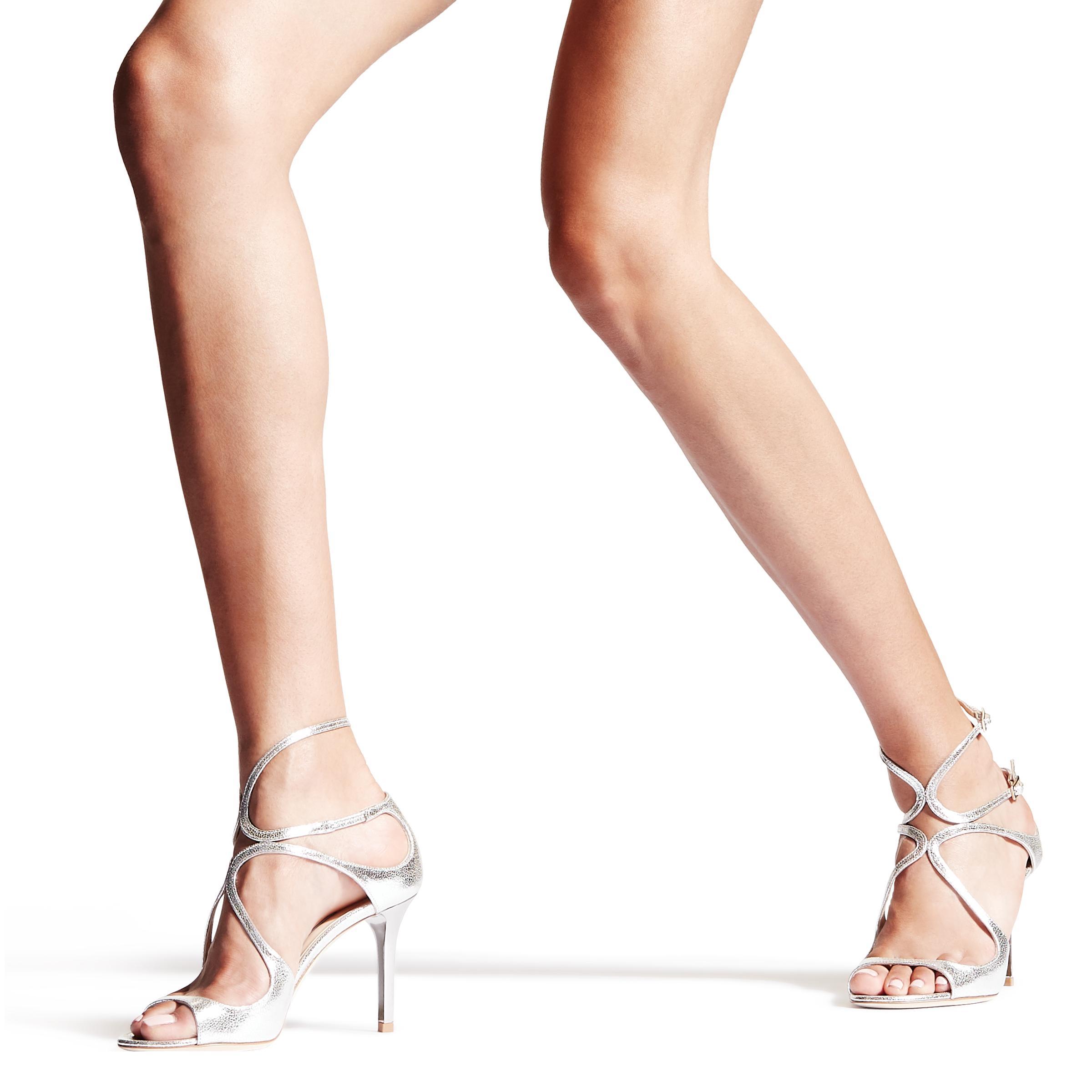 d891cd9e628f Jimmy Choo - Metallic Ivette Champagne Glitter Leather Strappy Sandals -  Lyst. View fullscreen
