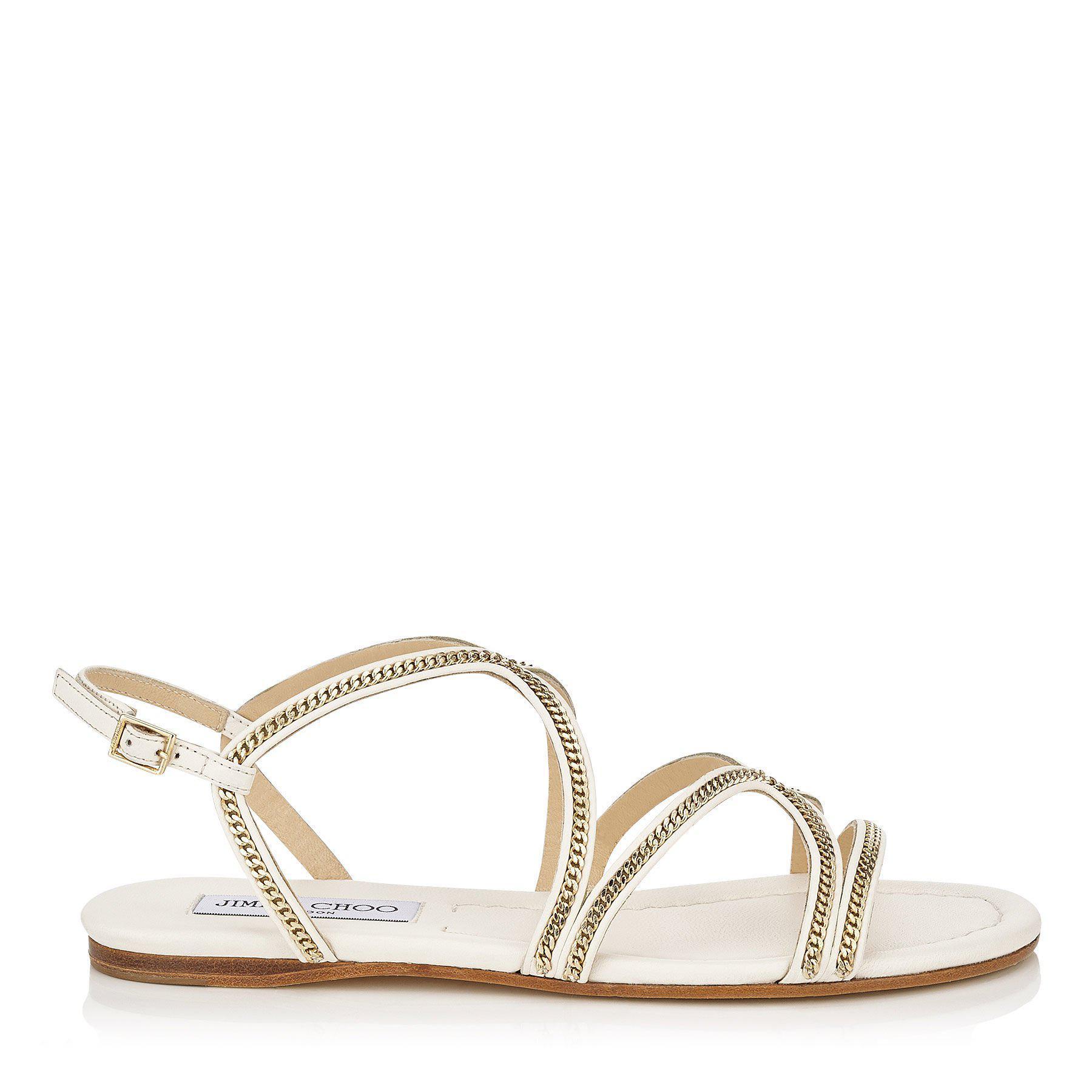 527f7c6e6d1b85 Lyst - Jimmy Choo Nickel Flat Latte Leather Flat Sandals in Brown