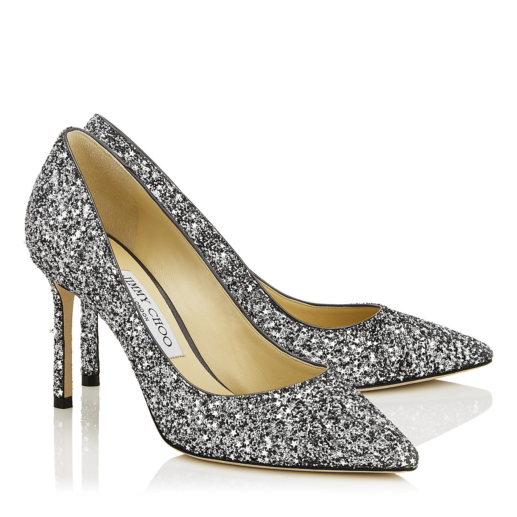 dc015a4558b8 Jimmy Choo - Multicolor Romy 85 Gunmetal Star Coarse Fabric Pointy Toe Pumps  - Lyst. View fullscreen