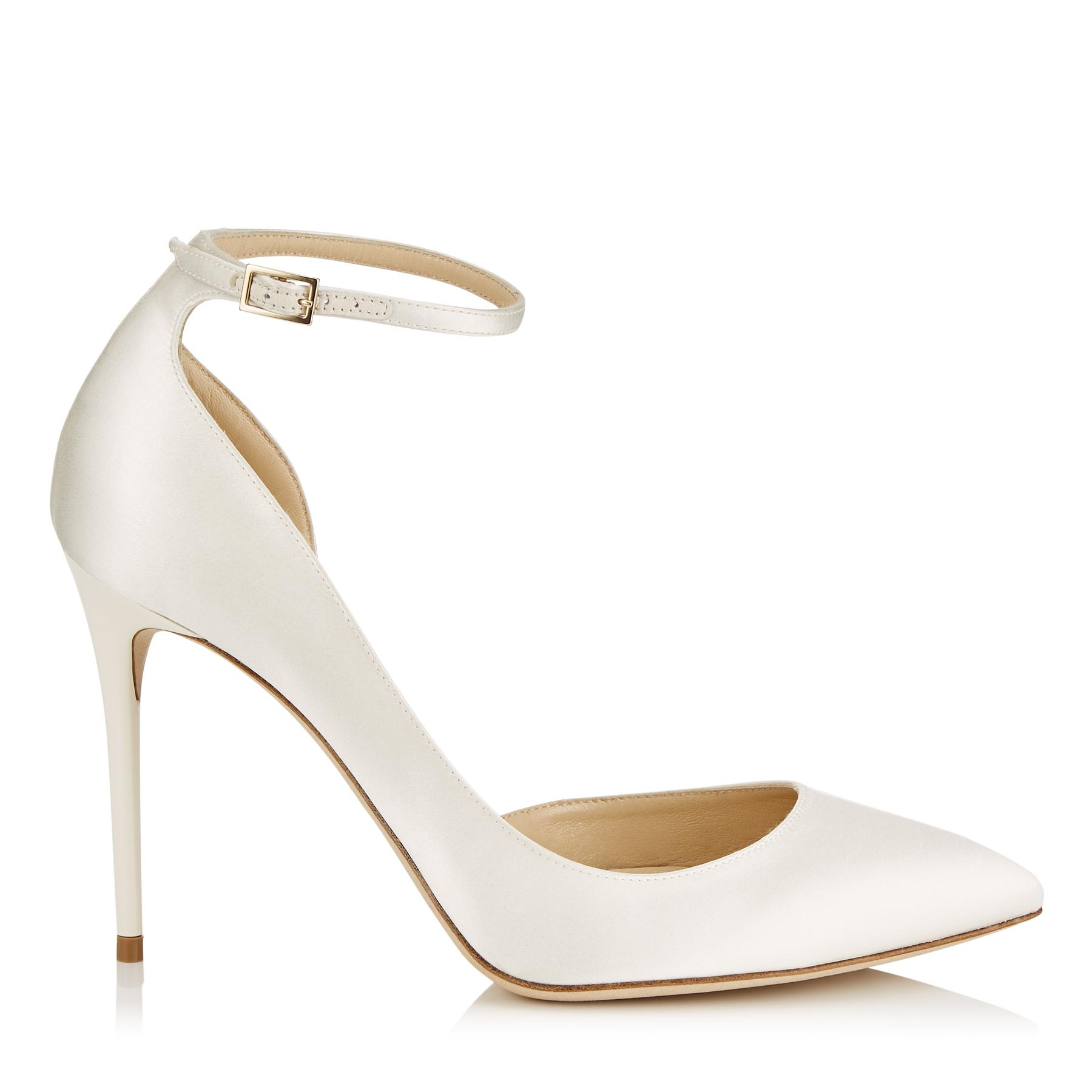 0b6147a36053 Jimmy Choo. Women s White Lucy 100 Ivory Satin Pointy Toe Court Shoes