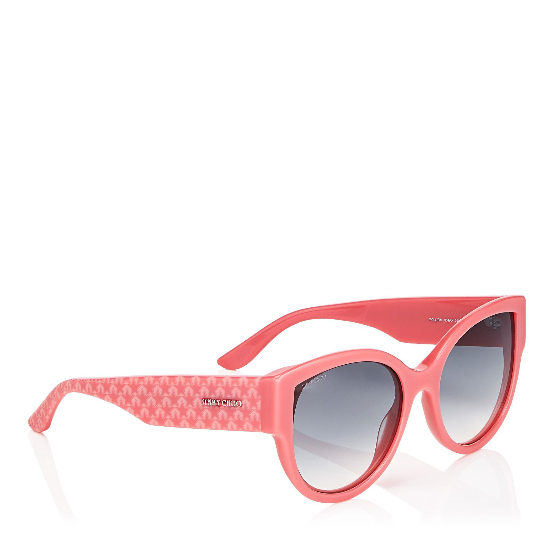 68306fd822ef Jimmy Choo Pollie Pink Cat-eye Sunglasses With Star Detailing in ...