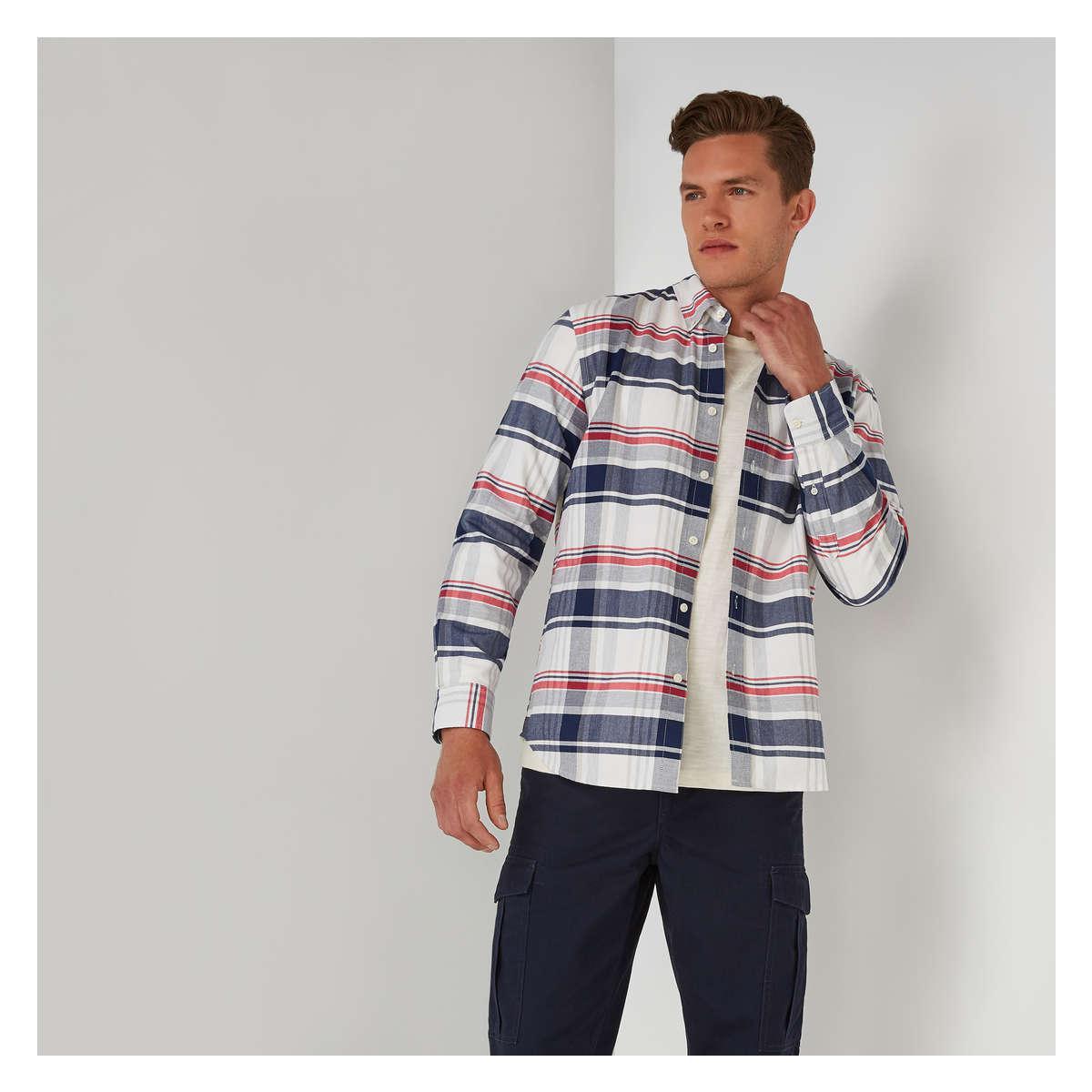 63cfeb8bb Lyst - Joe Fresh Men's Long Sleeve Button-down Shirt in Red for Men