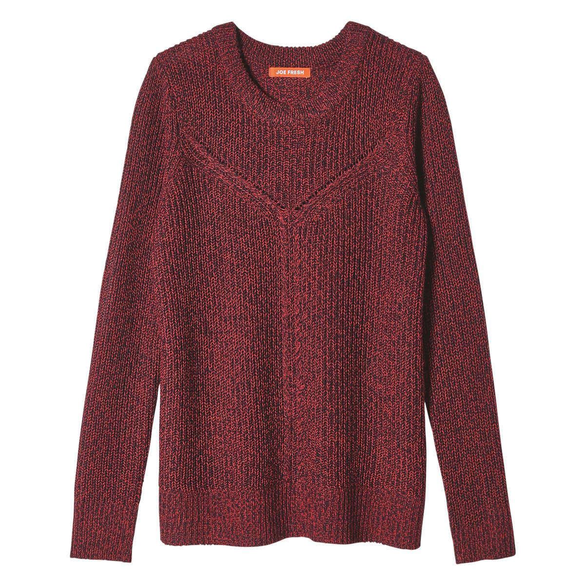 Joe fresh Marled Stitch Sweater in Red | Lyst