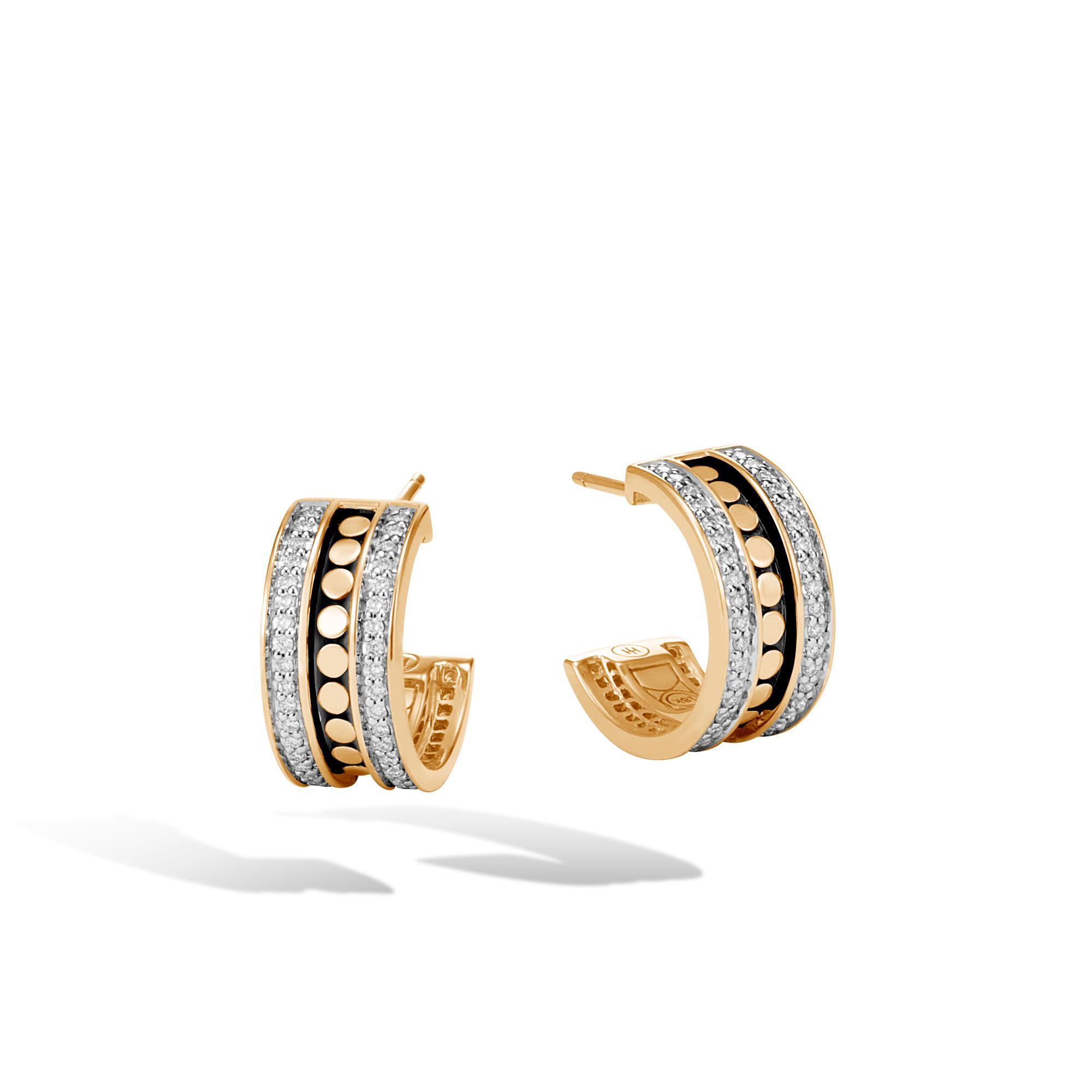 John Hardy Hammered Small Hoop Earring With Diamonds White diamond x3k1M