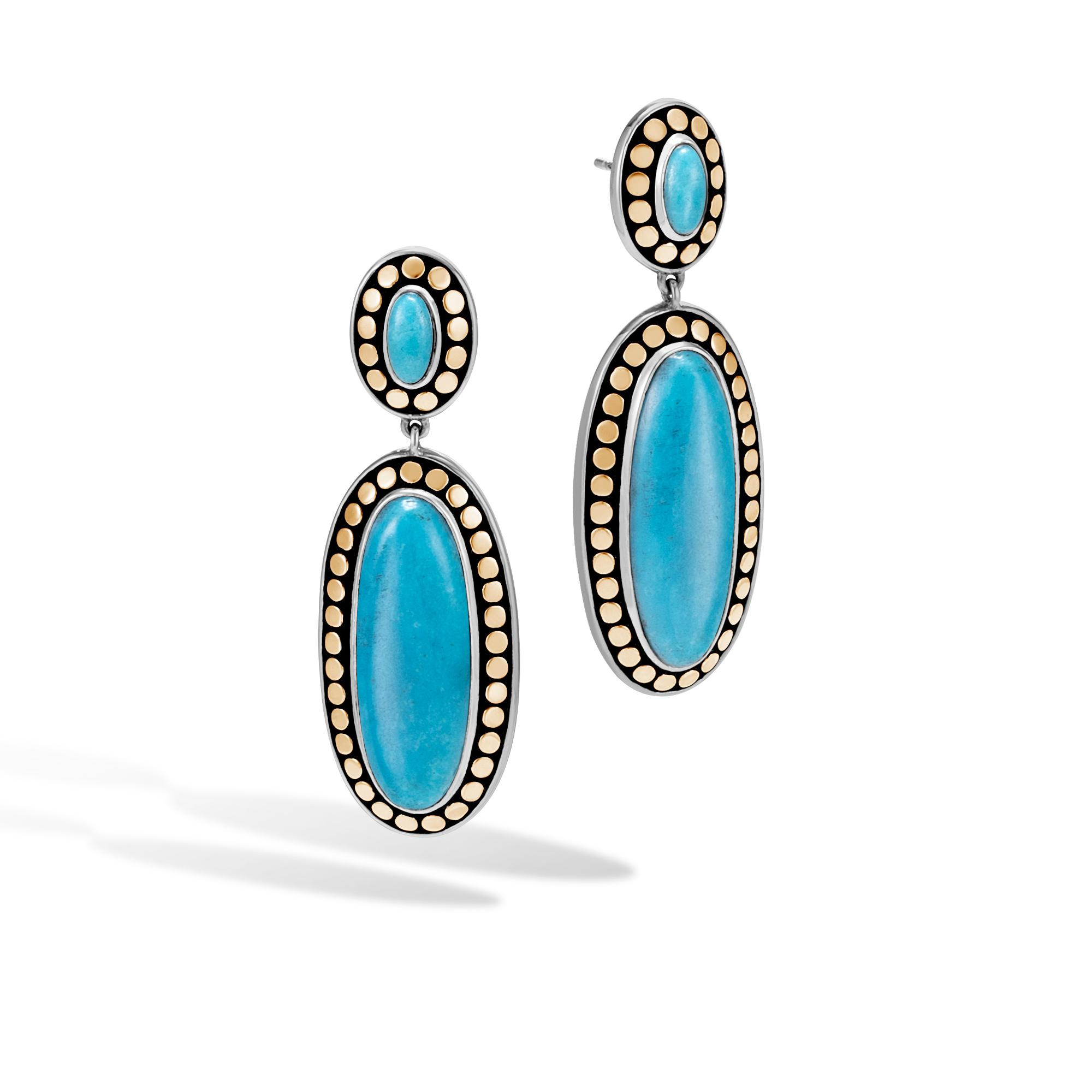 John Hardy Classic Chain Stud Earring With Turquoise Natural arizona turquoise XwcIw1lTy