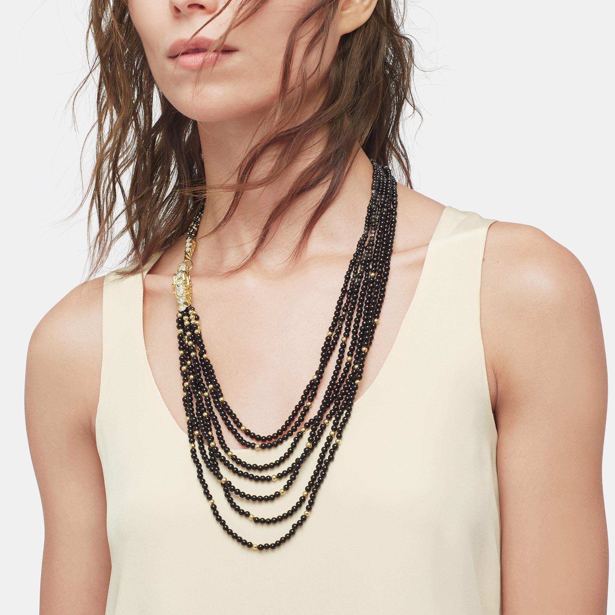 John Hardy Naga Necklace With Black Mother Of Pearl, Dia