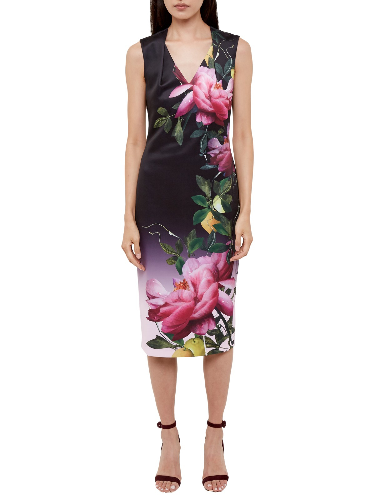 Ted Baker Oldiva Citrus Bloom Midi Dress In Black Lyst