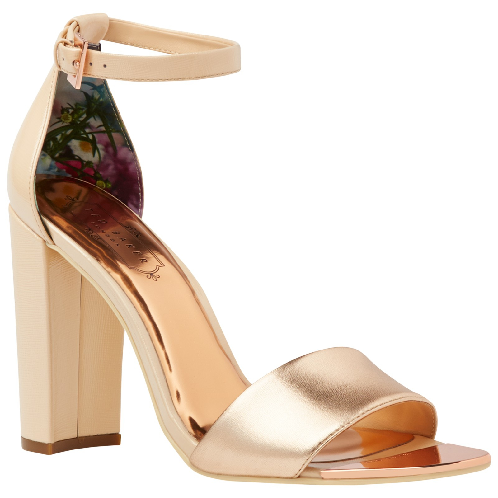 3064d36b2cb Ted Baker Caiye Block Heeled Sandals in Metallic - Lyst
