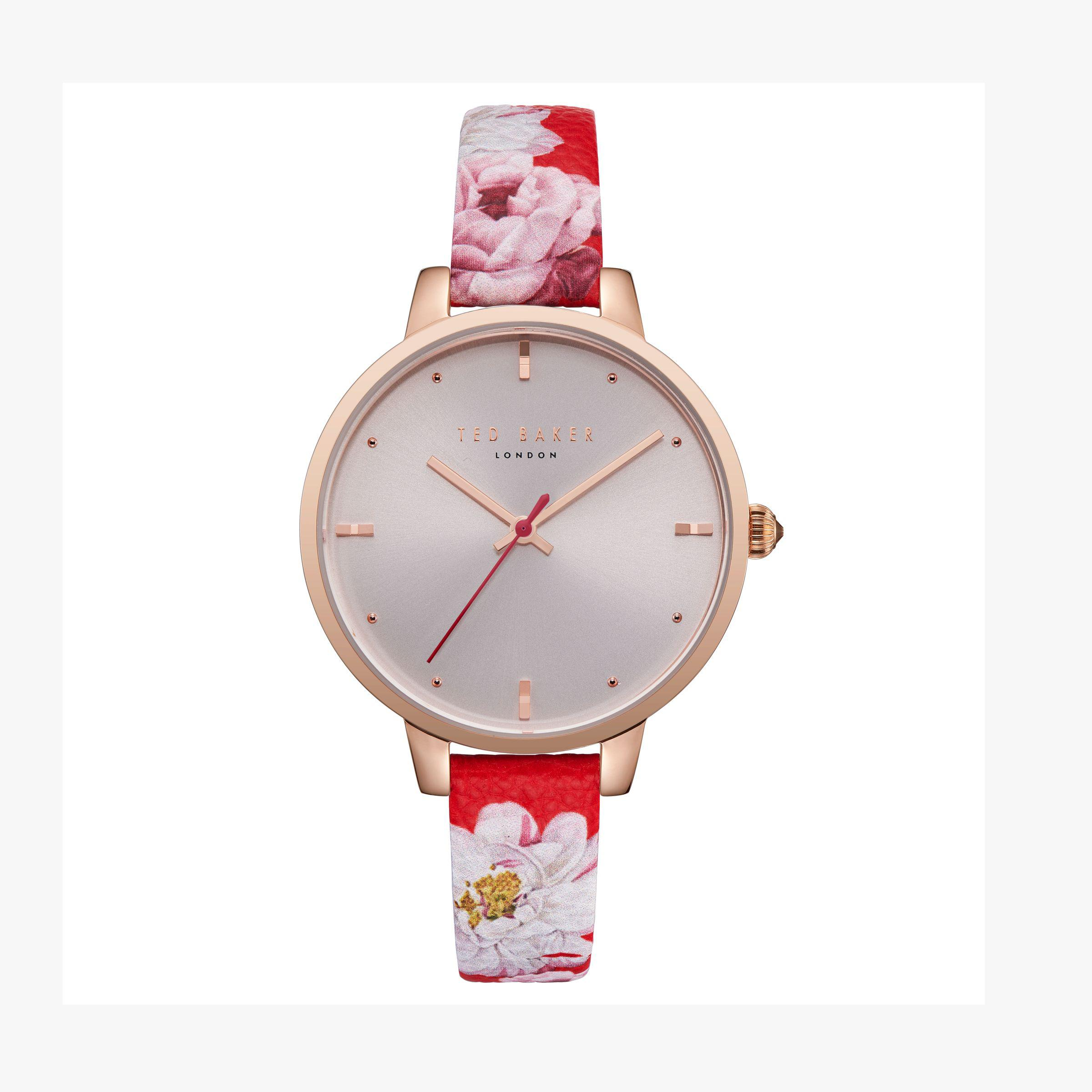5297e1e2f Ted Baker Te50005011 Women s Kate Floral Leather Strap Watch - Lyst