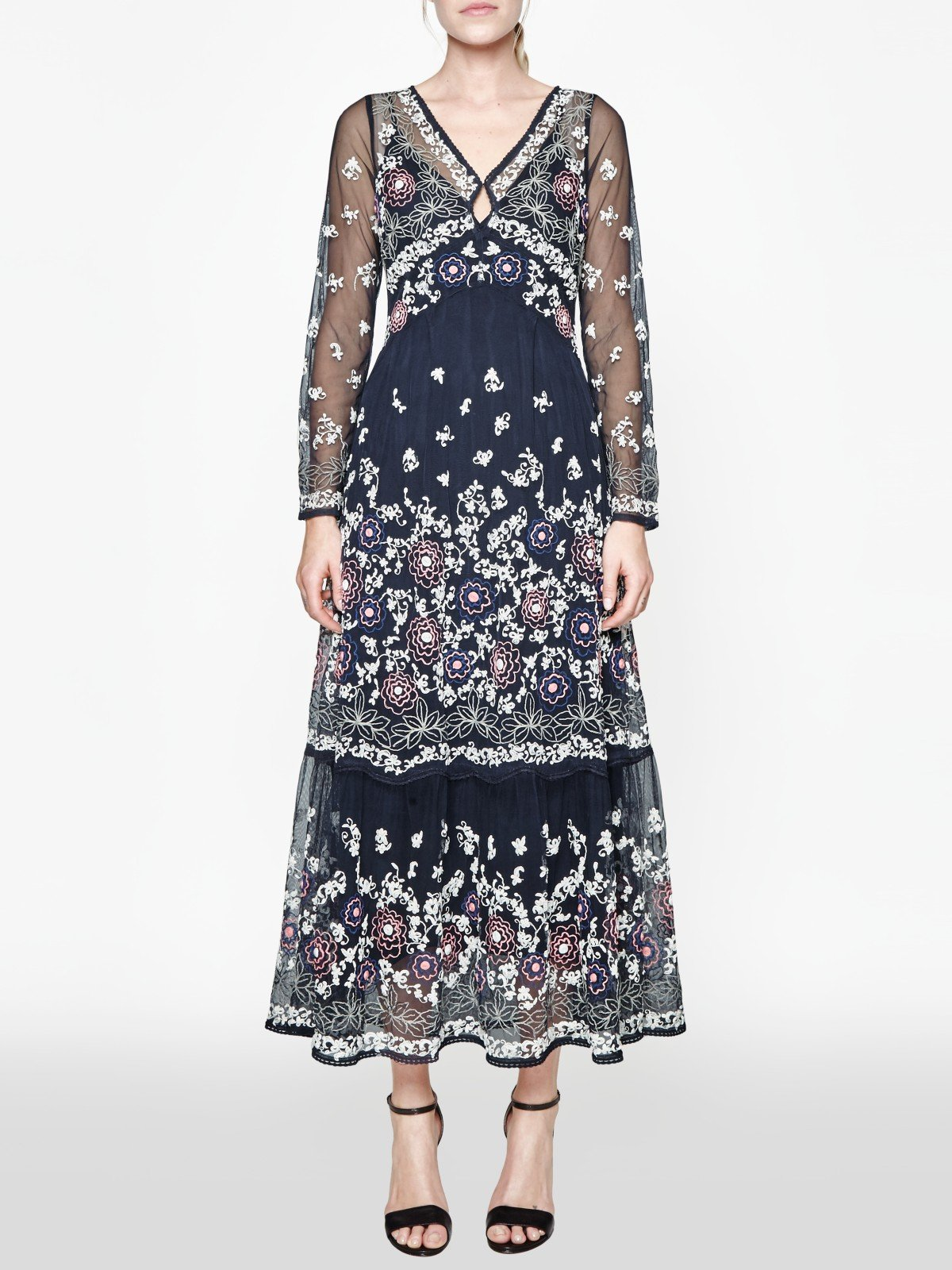 Lyst French Connection Mara Bloom Embroidered Maxi Dress