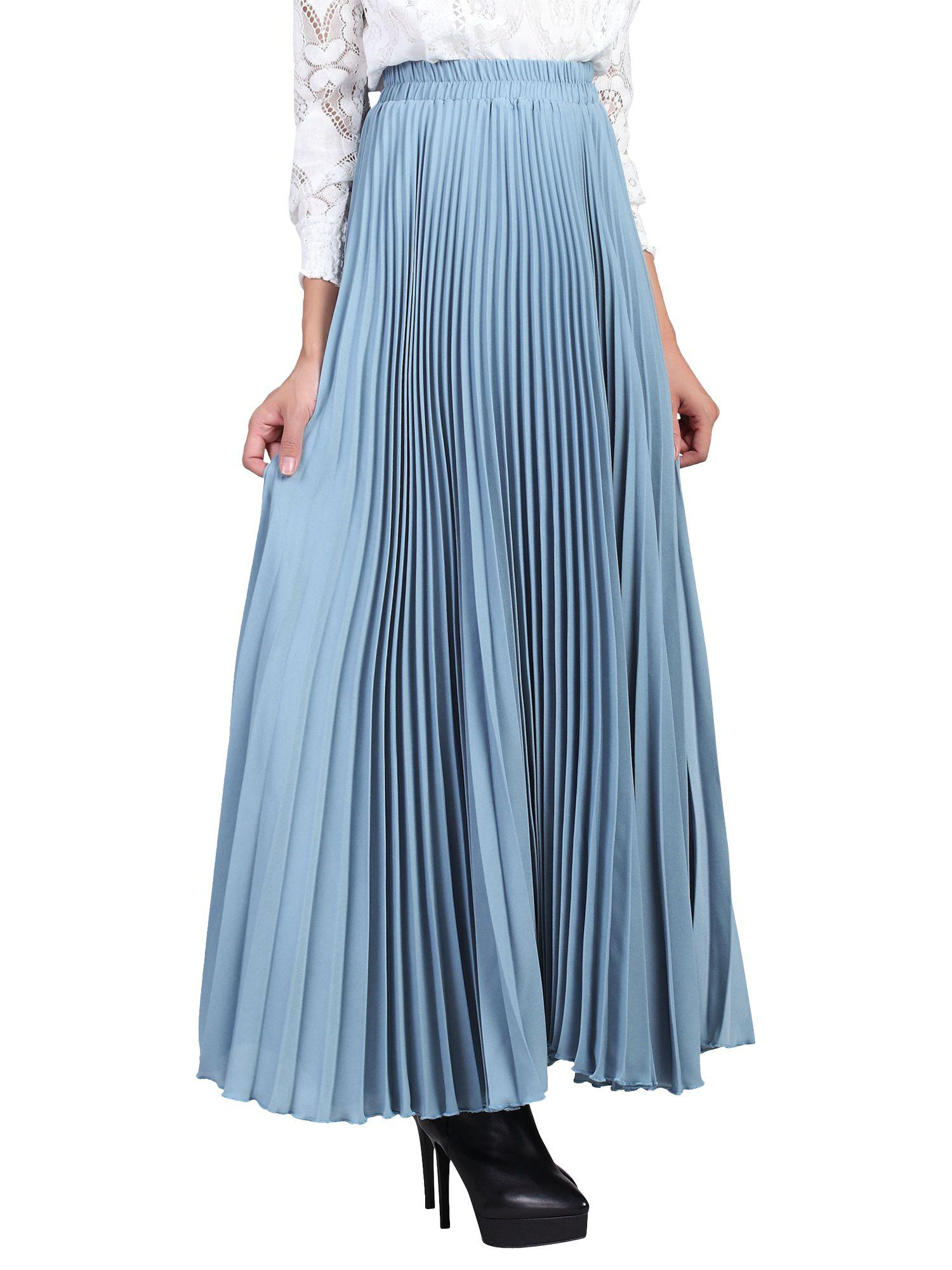 de5aa63a19 Jolie Moi Pleated Crepe Maxi Skirt in Blue - Lyst