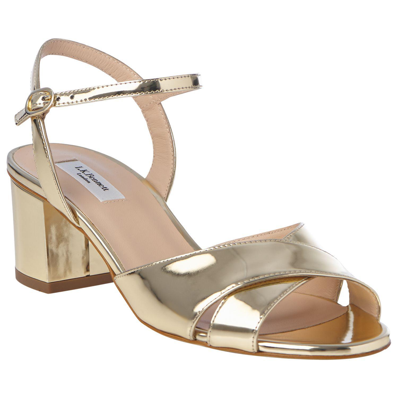 ebed39b87418 L.K.Bennett Tabitha Gold Block Heel Sandals in Metallic - Lyst