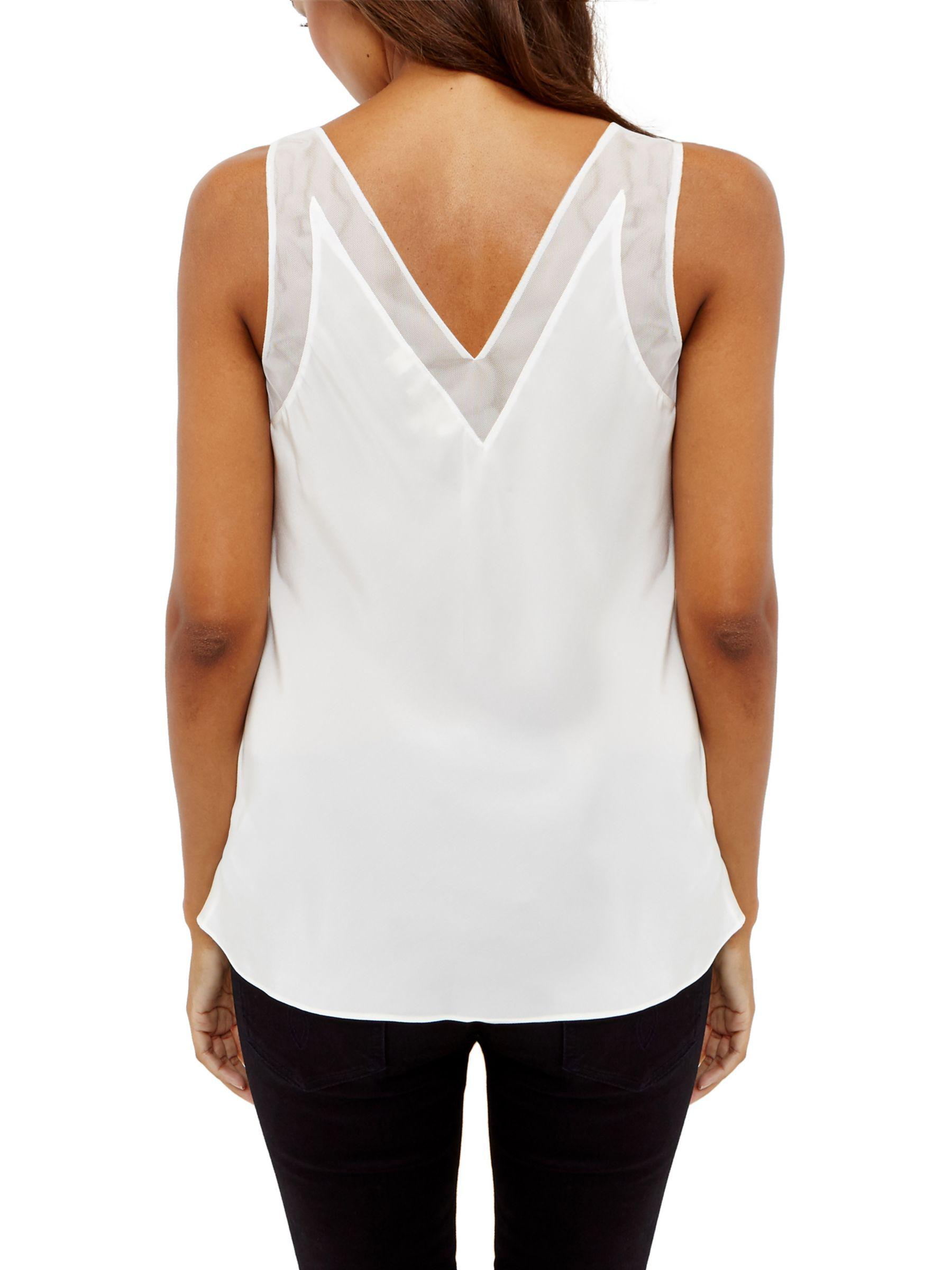 a9d653051a29a Ted Baker Mesh-trimmed Silk Top in White - Lyst