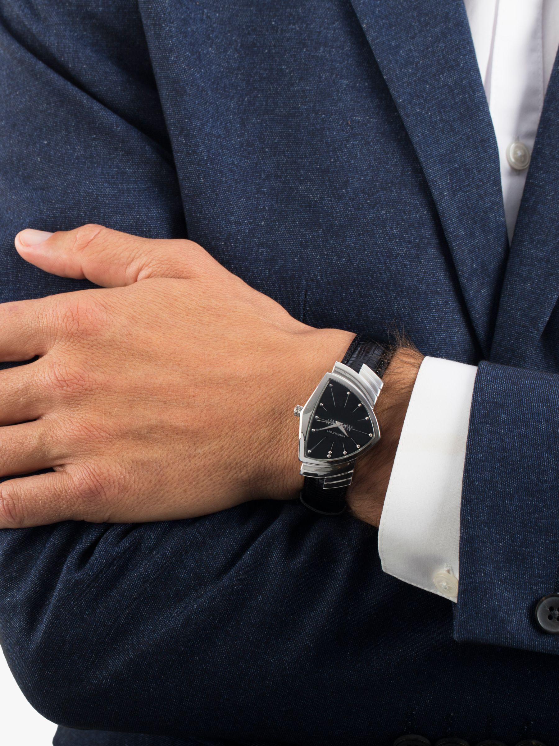 3db8fd5818e Hamilton H24411732 Men's Ventura Triangular Leather Strap Watch in ...