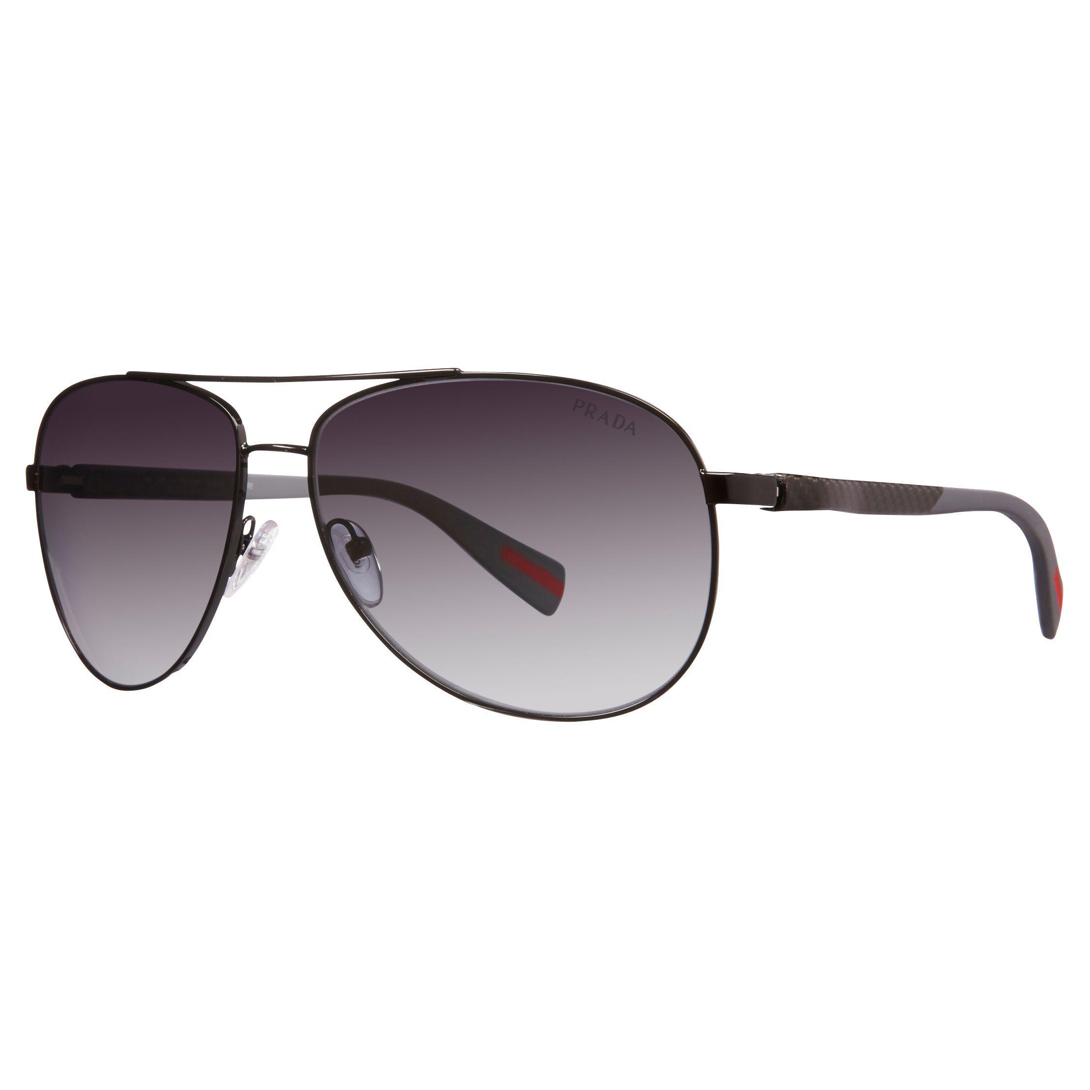1b67b1edd539 Prada Ps51os 7ax5w1 Polarised Aviator Sunglasses in Black for Men - Lyst