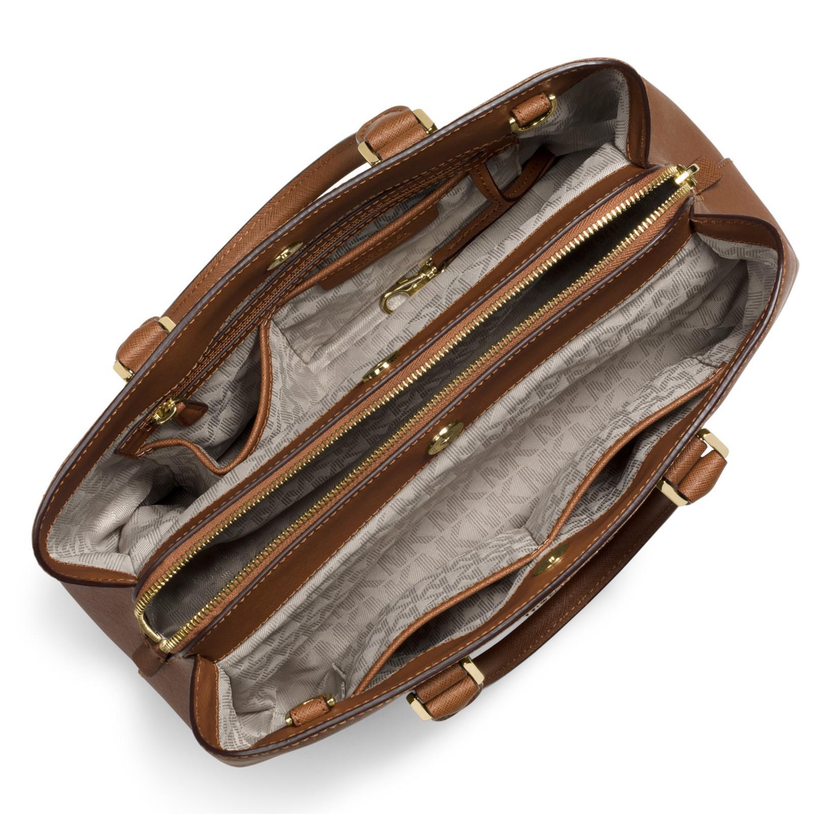 82bec02654e4 Michael Michael Kors Savannah Large Leather Satchel in Brown - Lyst