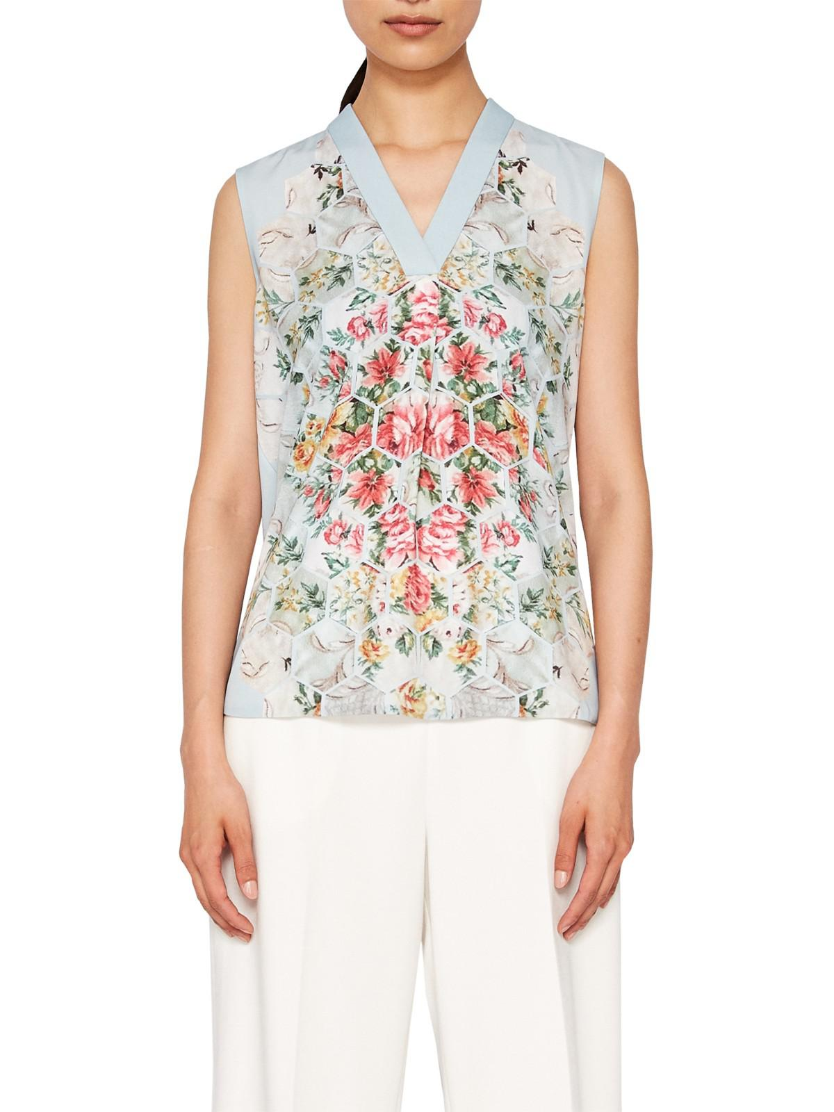 6340d36e4f9d10 Ted Baker Kisey Patchwork Top in Blue - Lyst