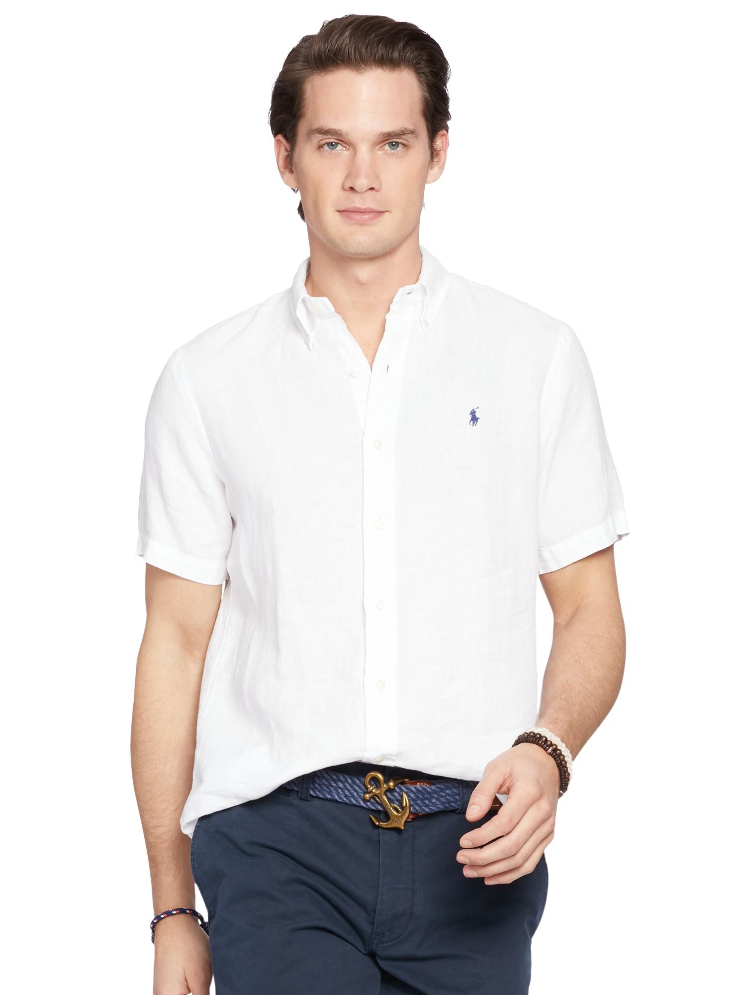 Lyst polo ralph lauren slim fit button down linen shirt for Slim fit white linen shirt
