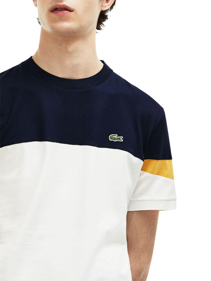 36e6b3f6a Lacoste Colour Block Short Sleeve T-shirt in Blue for Men - Lyst