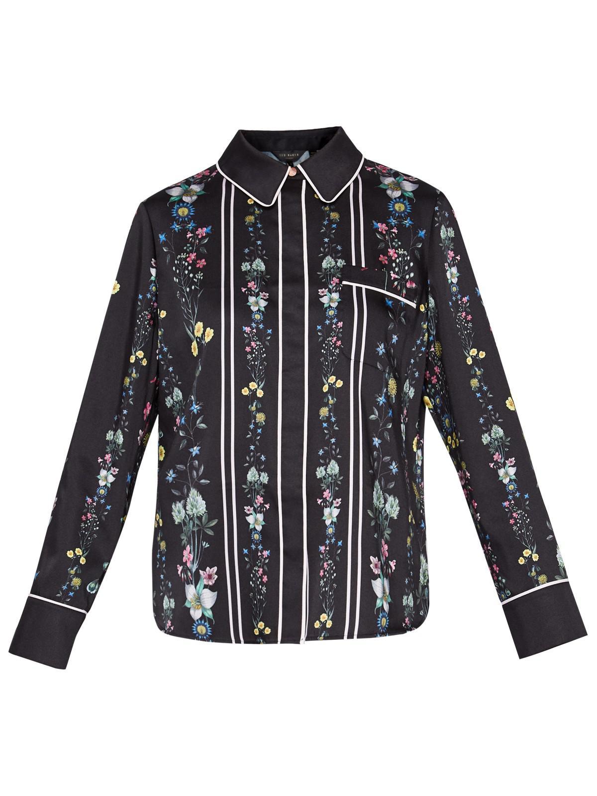 1f108efdd660a6 Ted Baker Lottu Unity Floral Blouse in Black - Lyst