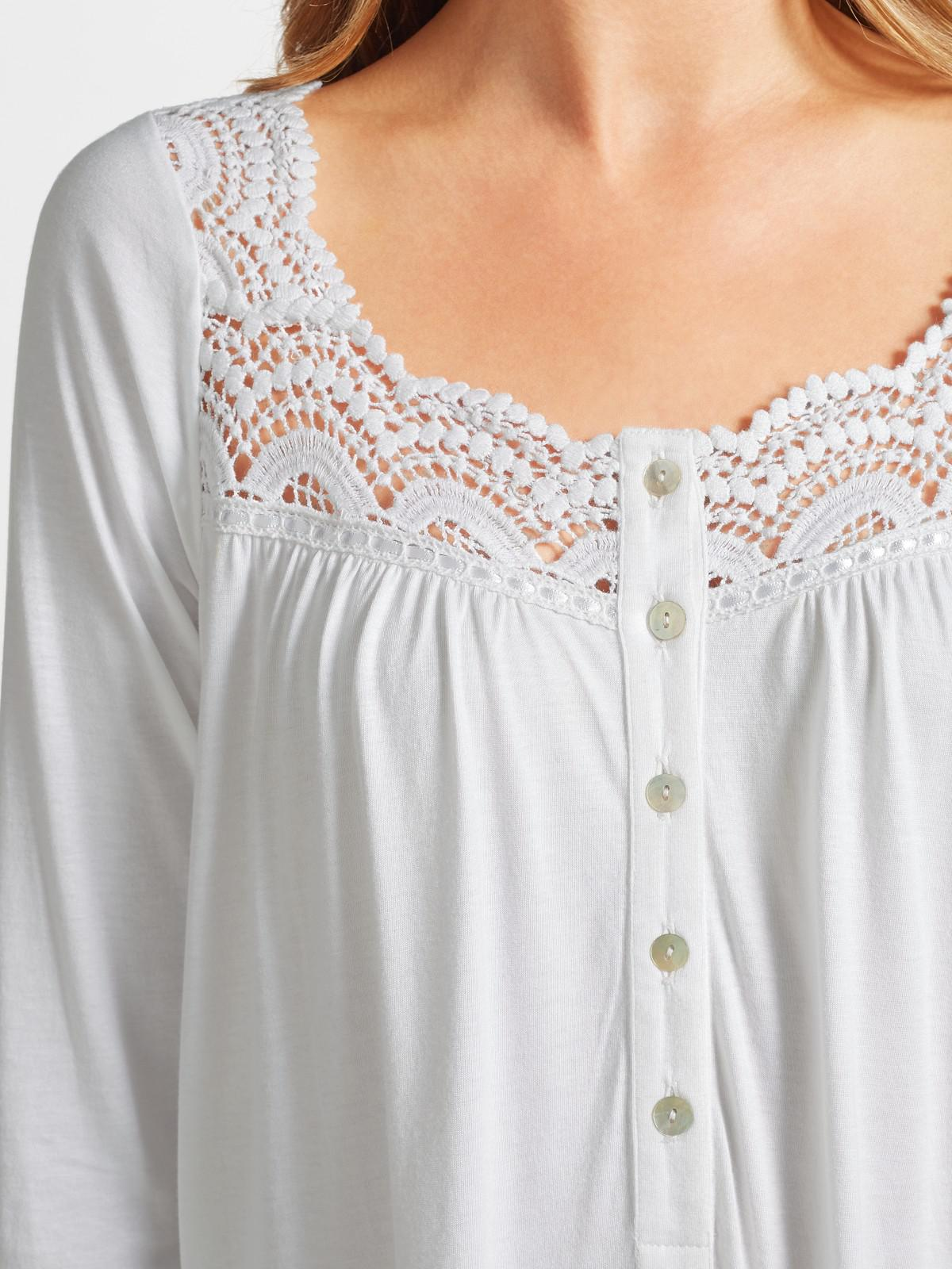 35ca086a51 John Lewis Long Sleeve Lace Trim Jersey Nightdress in White - Lyst