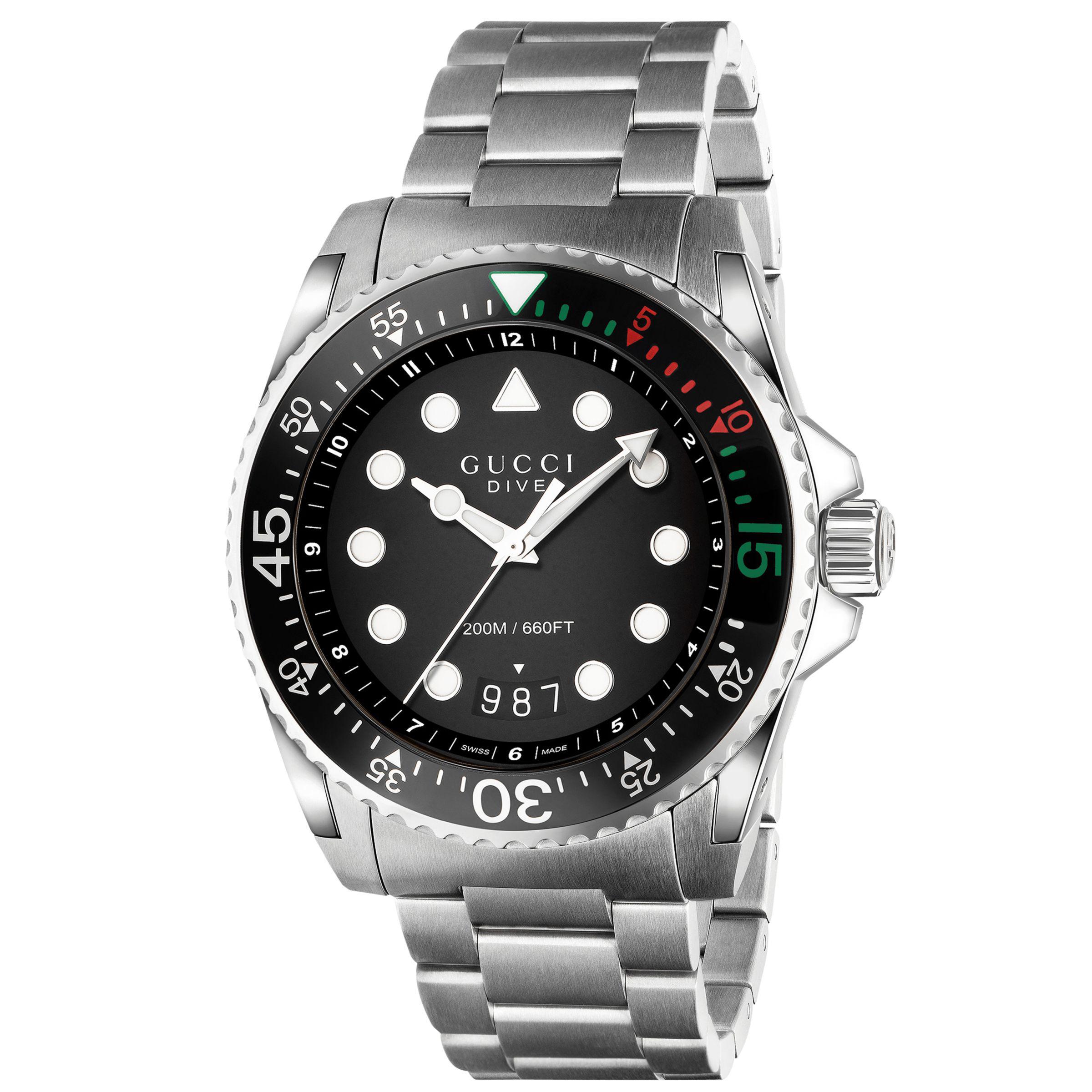 8d48306c390 Gucci Ya136208 Unisex Dive Stainless Steel Bracelet Strap Watch in ...