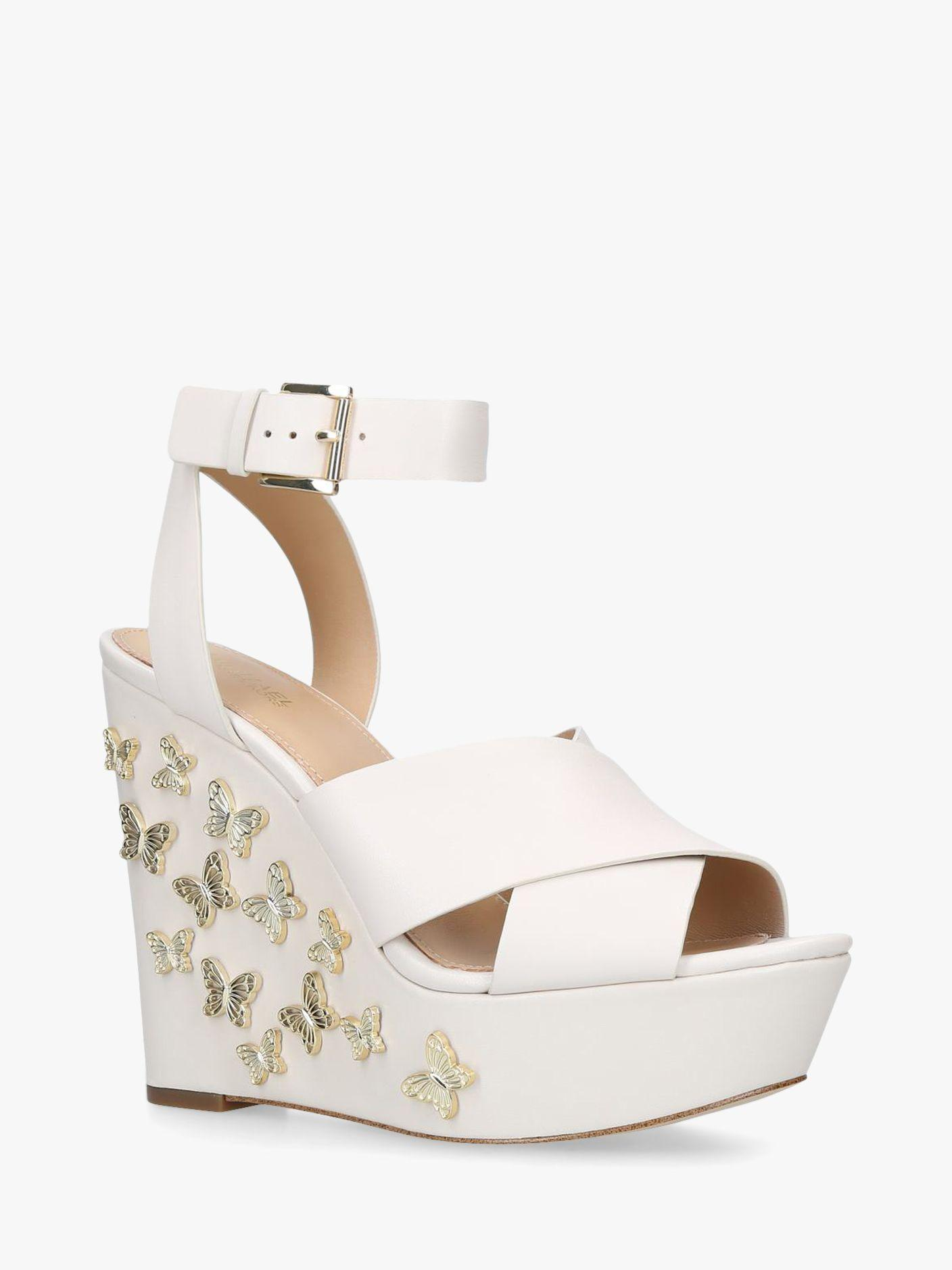 c3983026317 Michael Kors Michael Lacey Embellished Wedge Sandals in Natural - Lyst