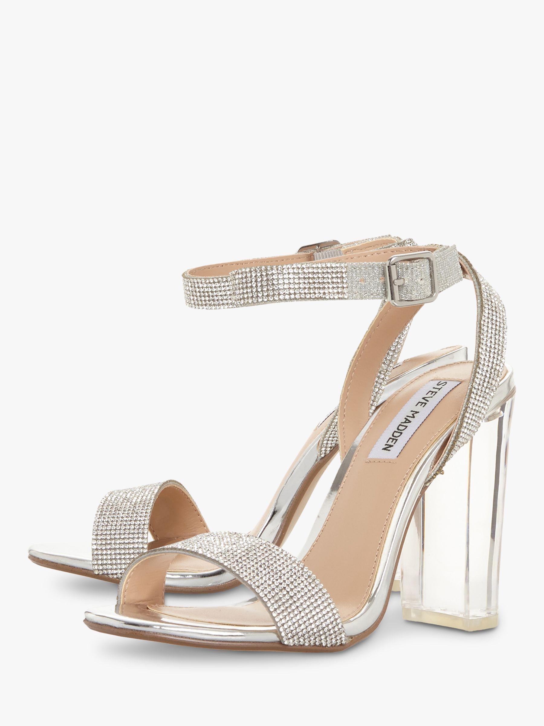 5a172f47f57 Steve Madden Crysler Crystal High Block Heel Sandals in Metallic - Lyst