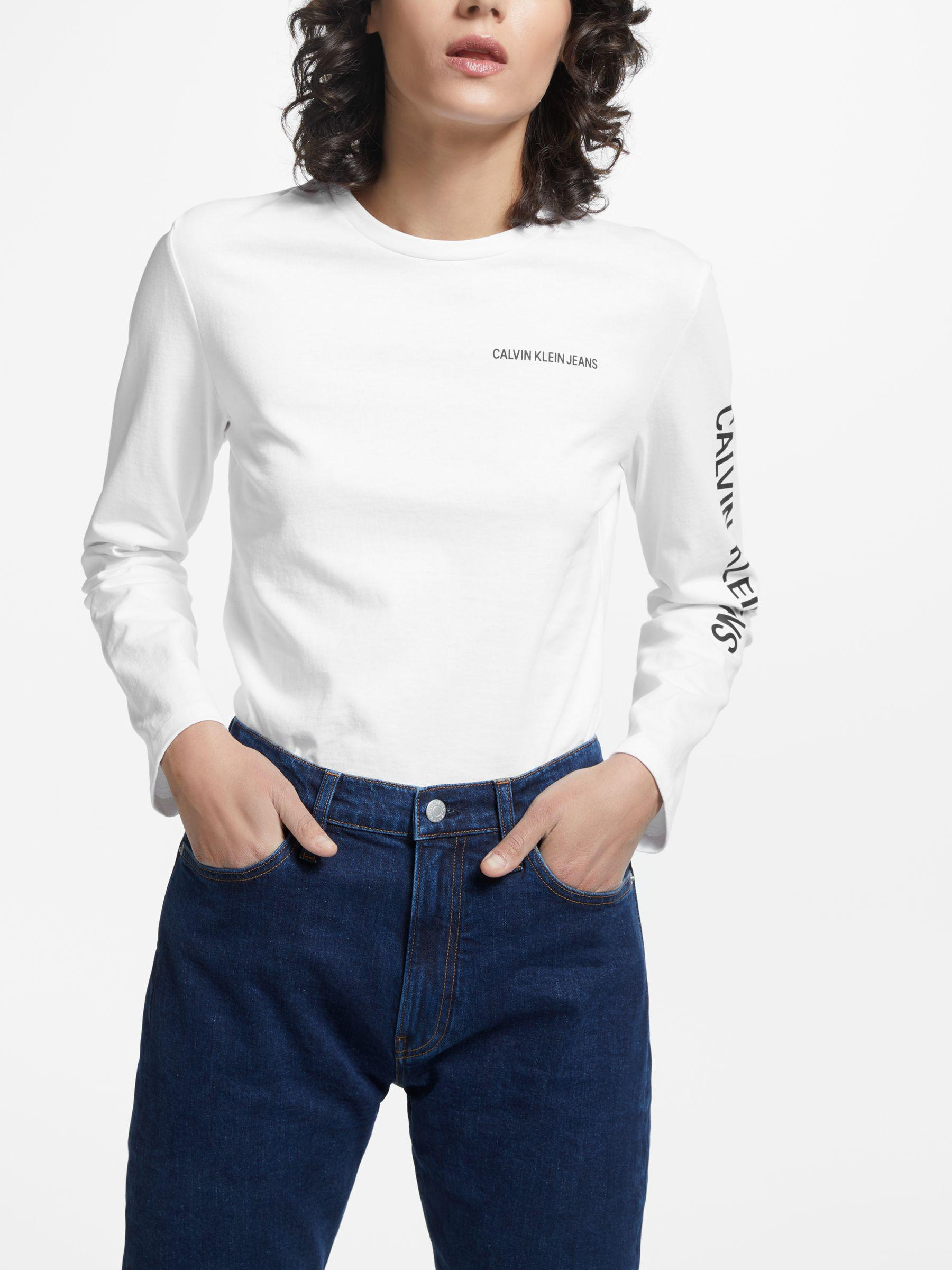 6080ed250a0 Calvin Klein Institutional Relaxed Fit Long Sleeve in White - Lyst