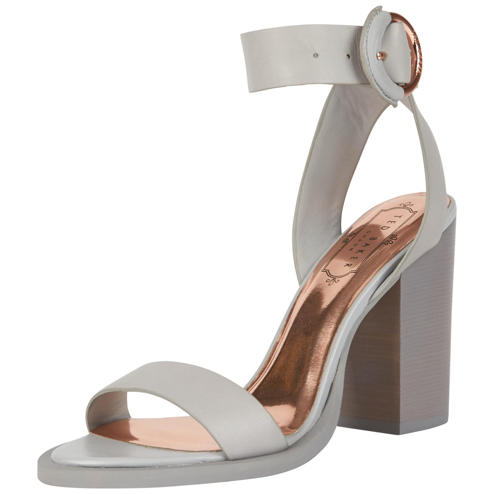 18786faf93d Ted Baker Betciy Block Heeled Sandals in Gray - Lyst