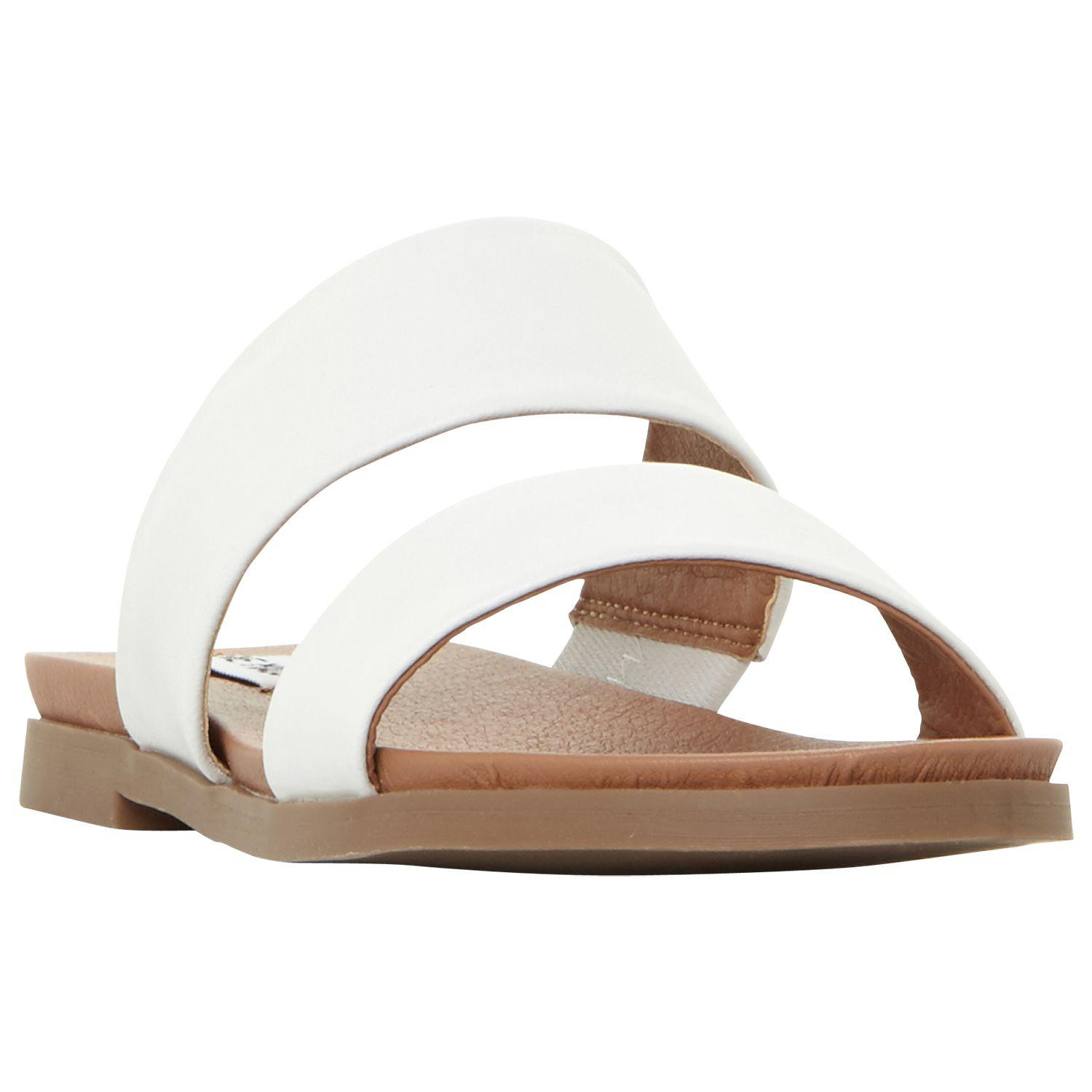 424758d80b1 Steve Madden Judy Two Band Leather Sliders in White - Lyst