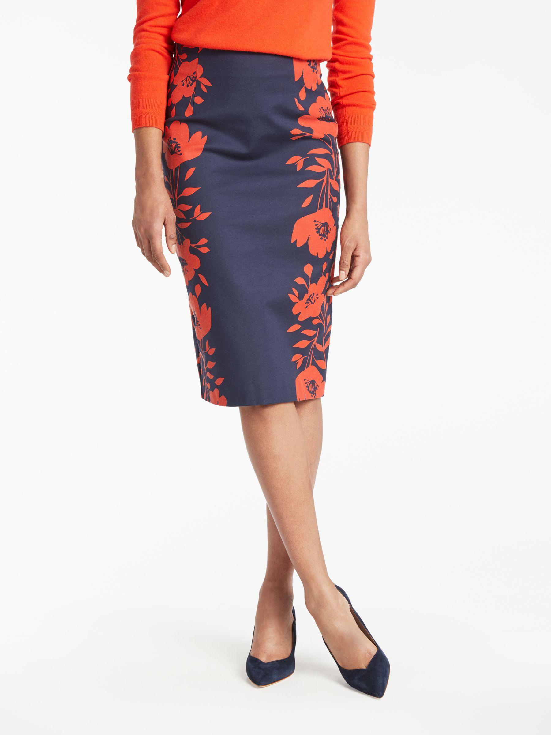 196198506 Boden Richmond Poppy Placement Pencil Skirt in Blue - Lyst