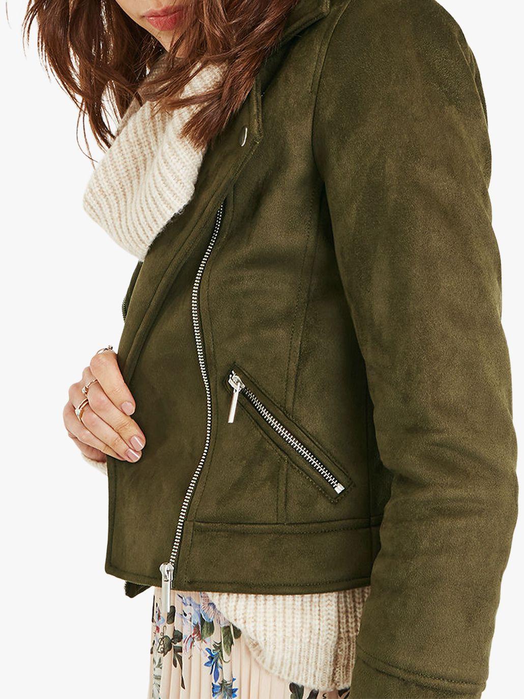 51d718300290 Oasis Faux Suede Biker Jacket in Green - Lyst