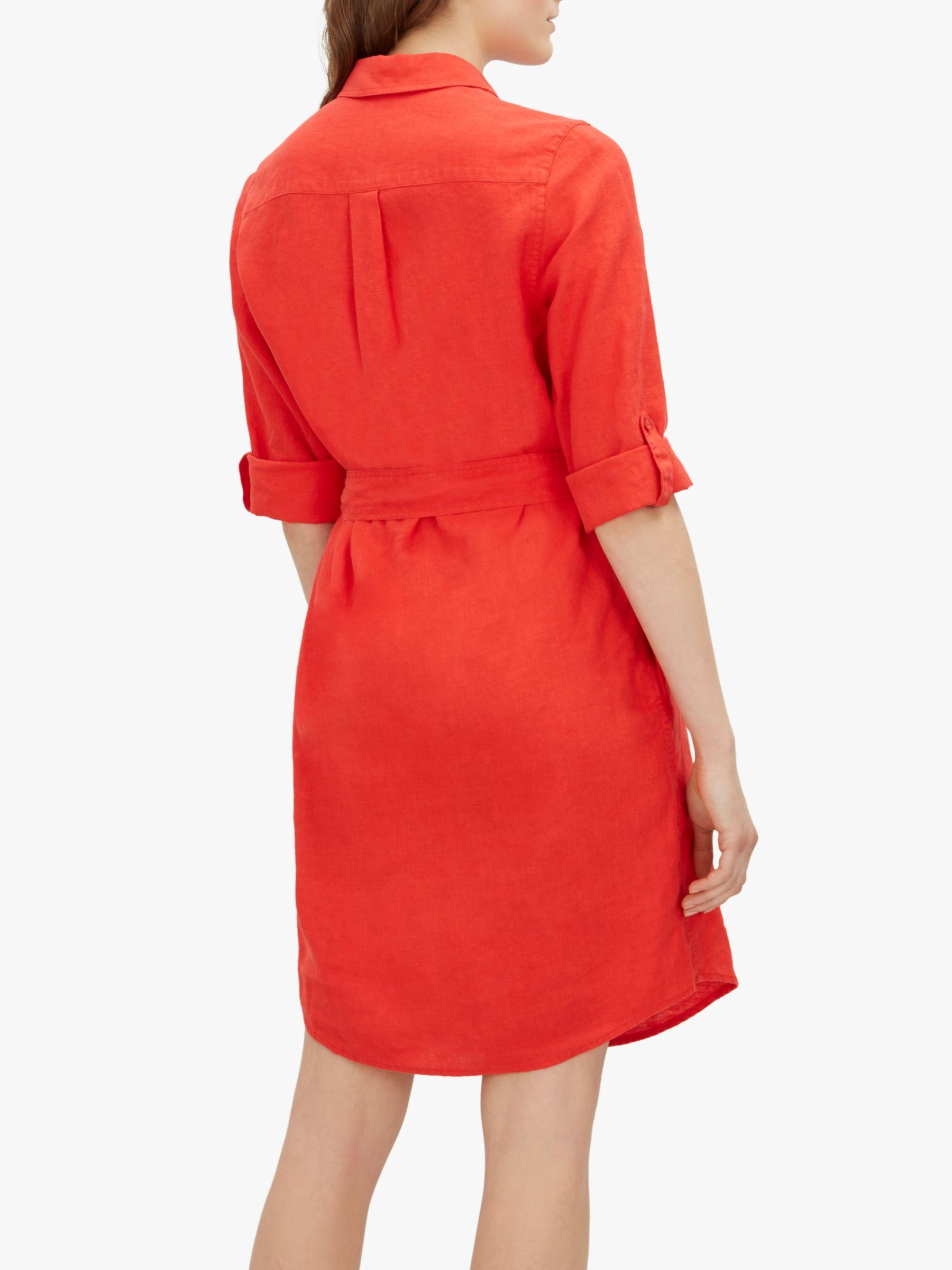 acd9e82153e Jaeger Linen Shirt Dress in Red - Lyst