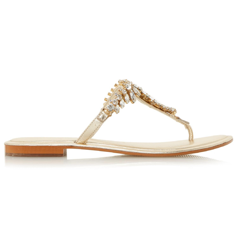 da2e124f9 Dune Nara Jewelled Toe Post Flat Sandals in Metallic - Lyst