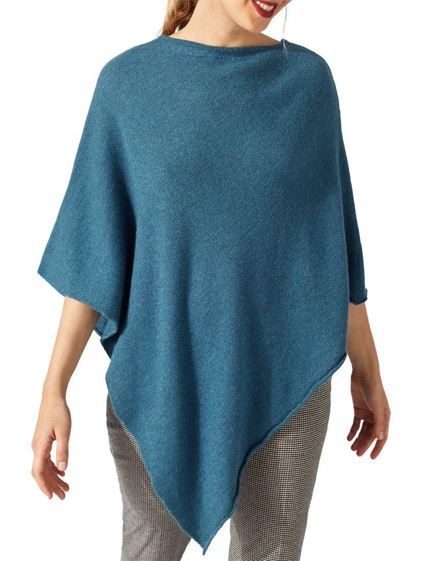 f14e628ae Jigsaw Wool Blend Rolled Poncho in Blue - Lyst