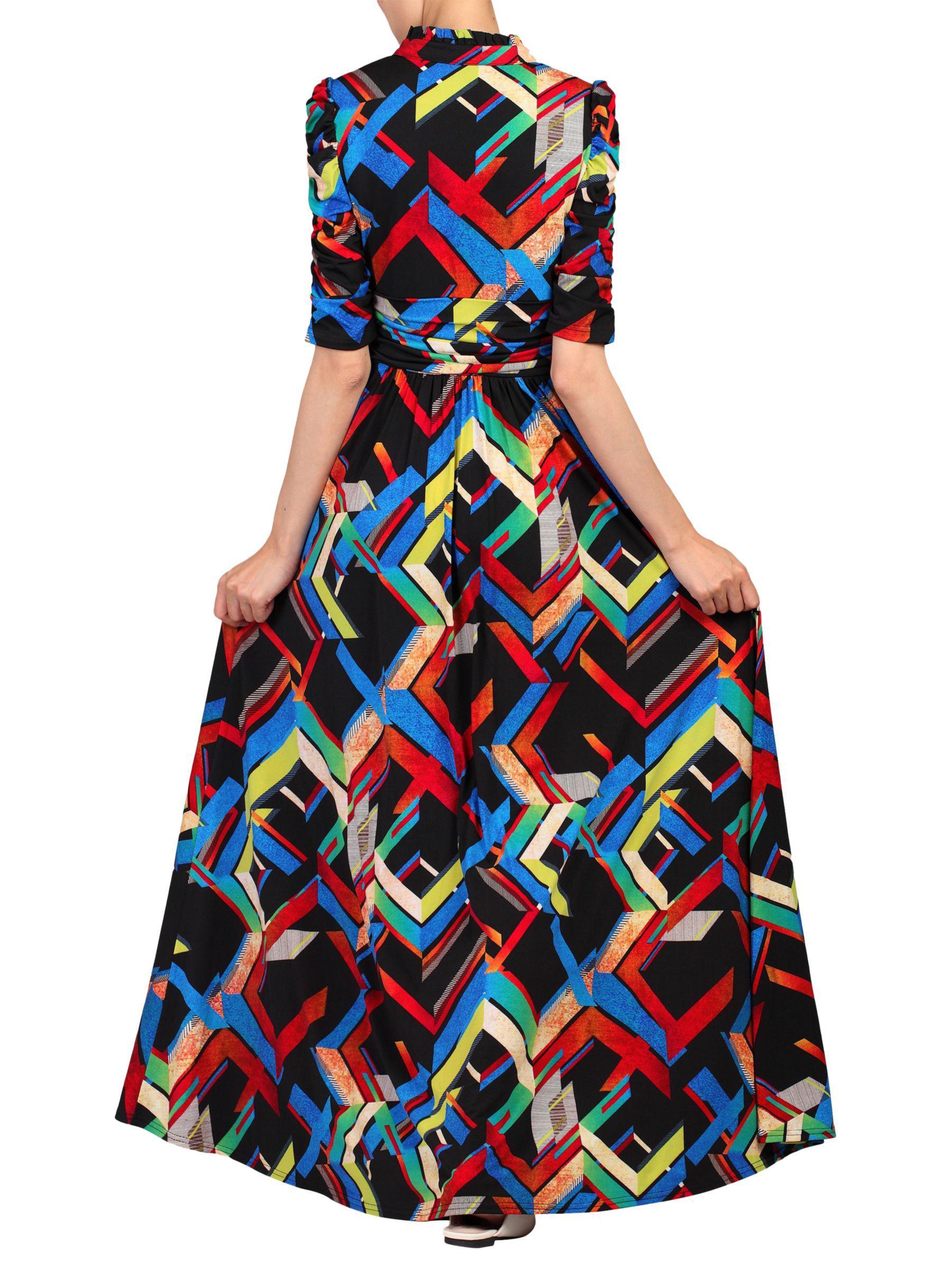e3d962a6d1 Jolie Moi Abstract Print Tie Collar Maxi Dress in Black - Lyst