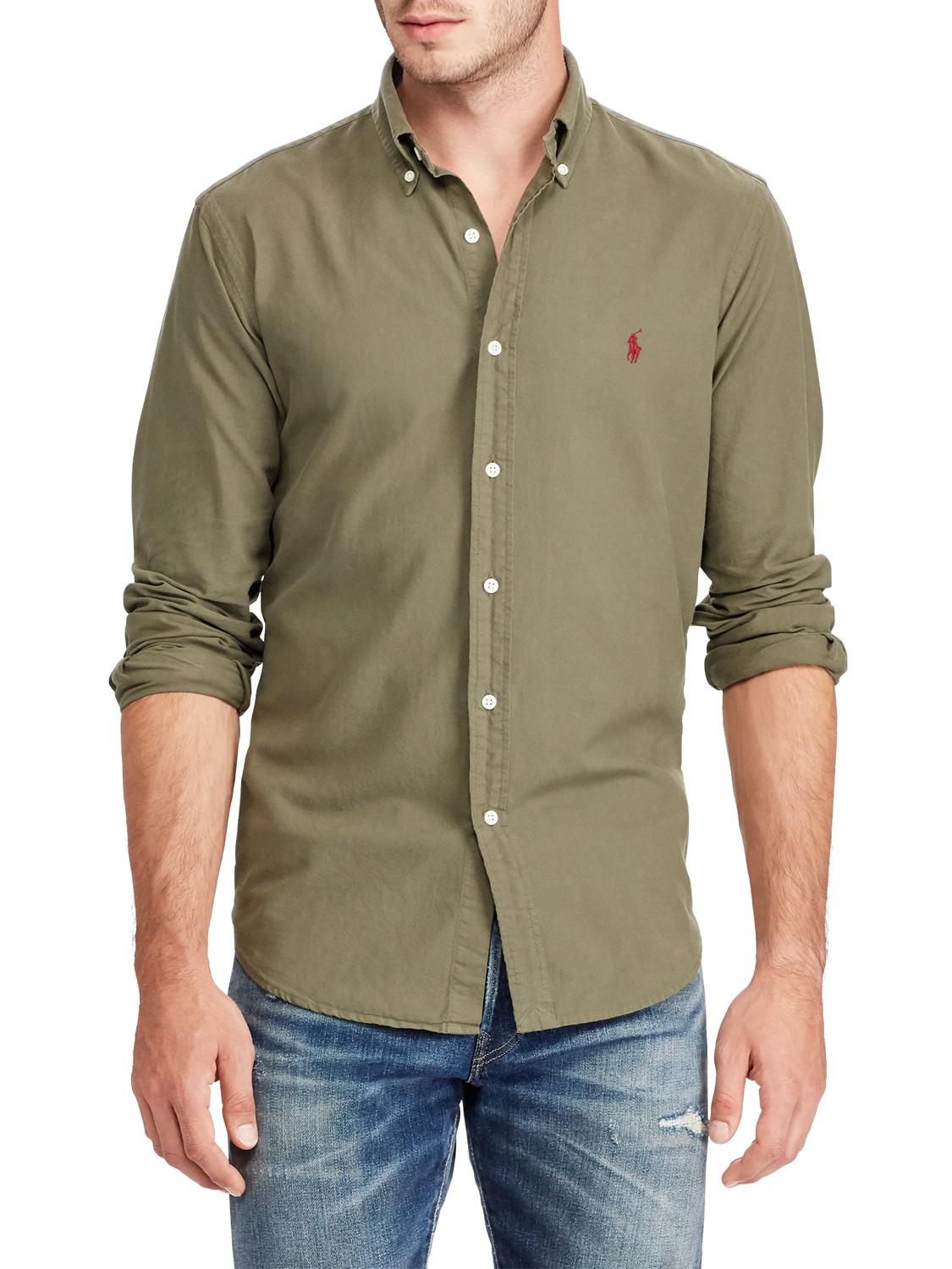 64762c8d Ralph Lauren Polo Cotton Oxford Slim Fit Shirt in Green for Men - Lyst
