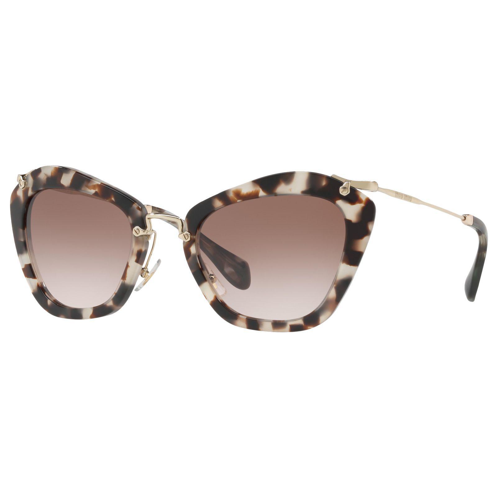 4059c45f67 Miu Miu Mu 10ns Pentagonal Cat s Eye Sunglasses in Brown - Lyst