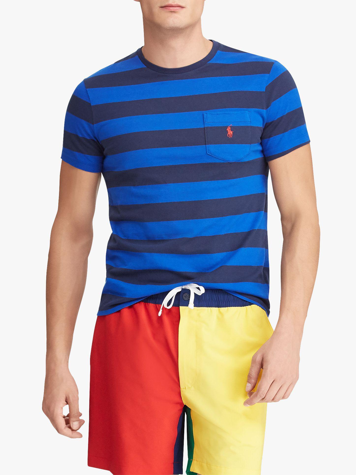 fa299991 Ralph Lauren Polo Stripe Pocket Short Sleeve T-shirt in Blue for Men ...