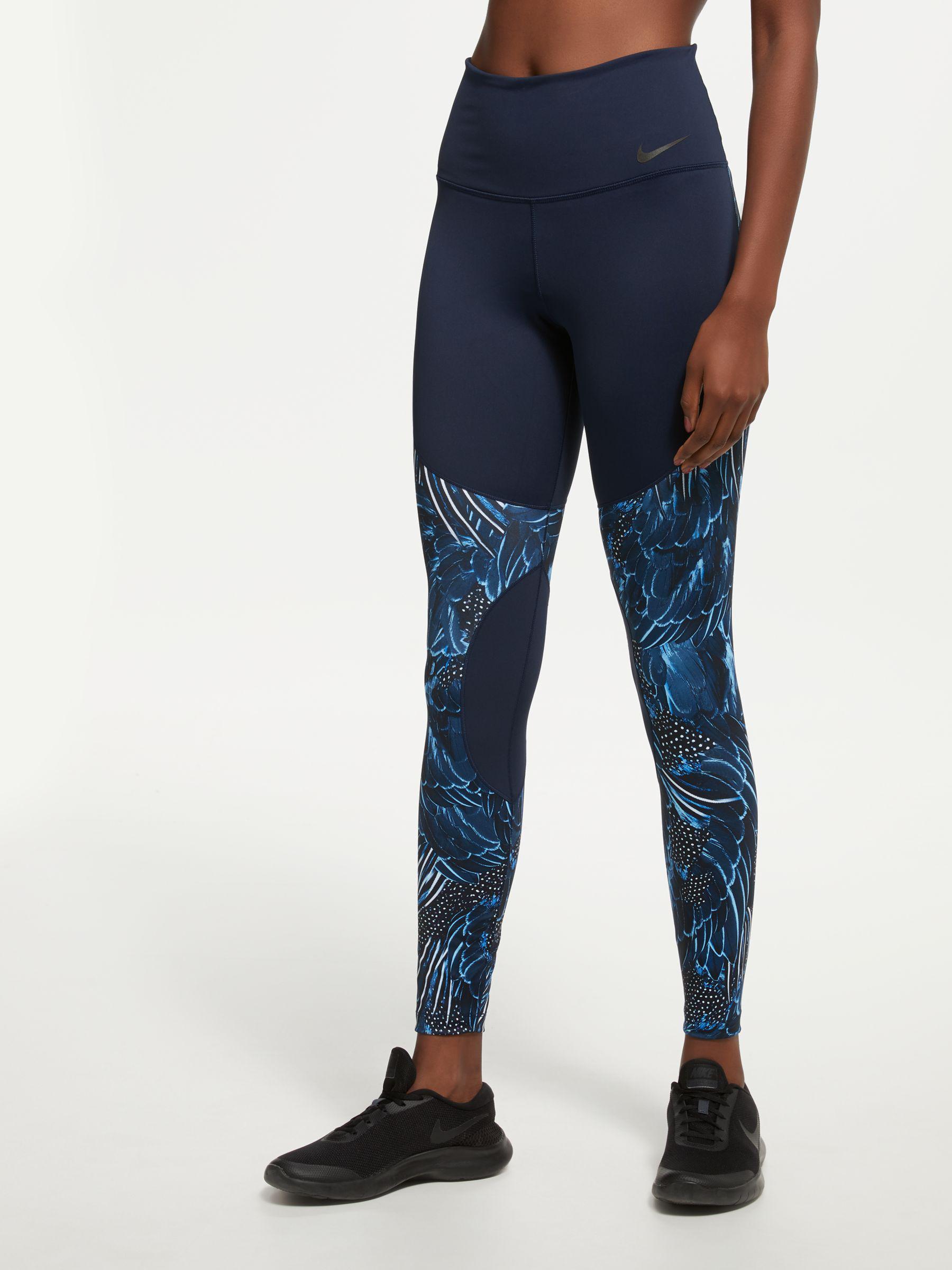f3980dd7ddb0e Nike Power Women's Printed Training Tights in Blue - Lyst