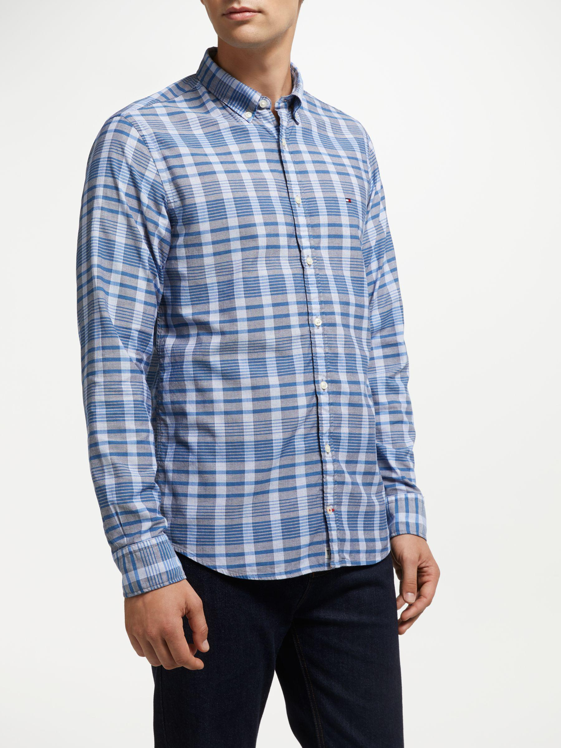 5766b991 Tommy Hilfiger Long Sleeve Check Shirt in Blue for Men - Lyst