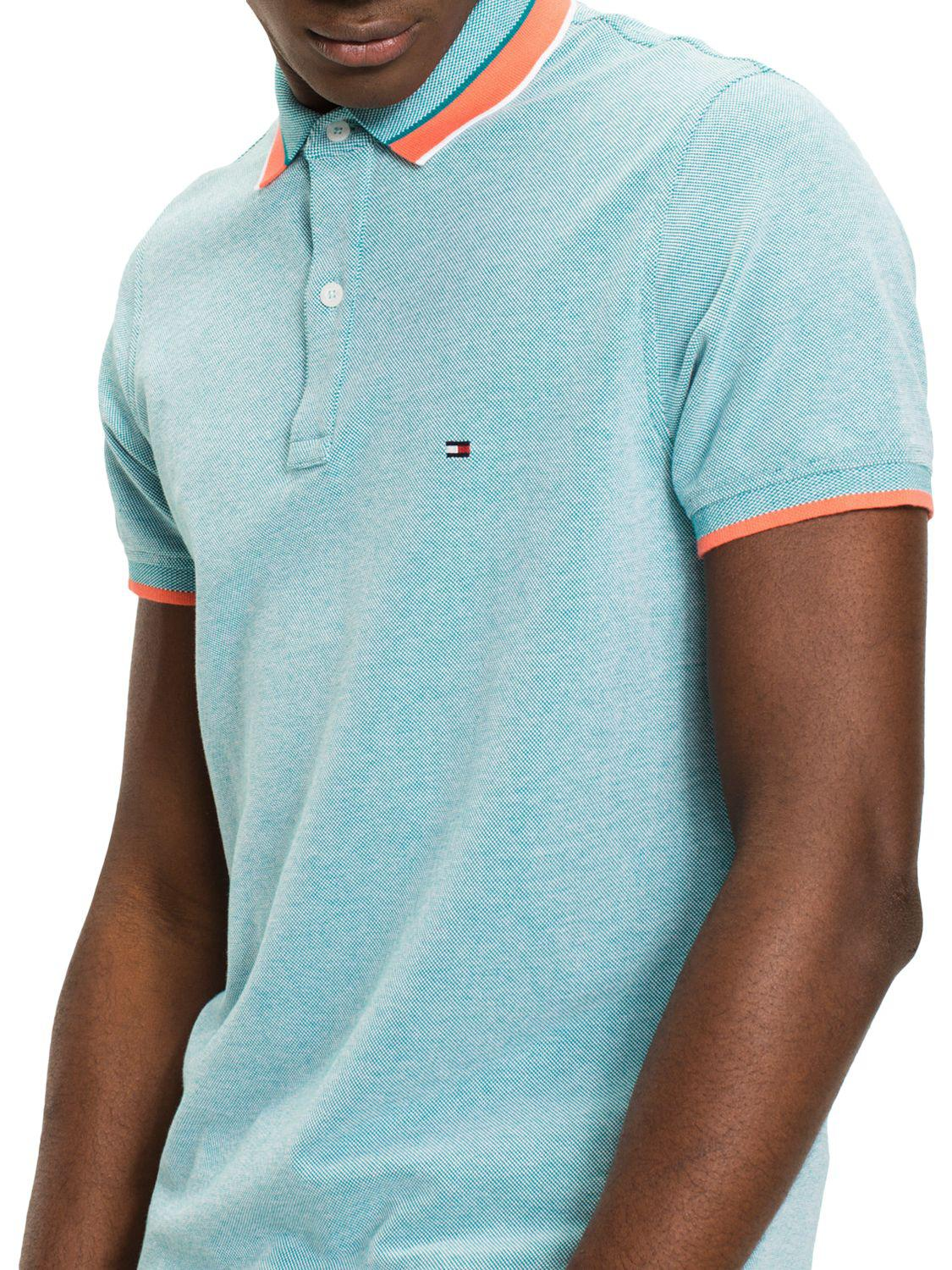 45a5a0a9 Tommy Hilfiger Oxford Tipped Slim Polo Shirt in Blue for Men - Lyst