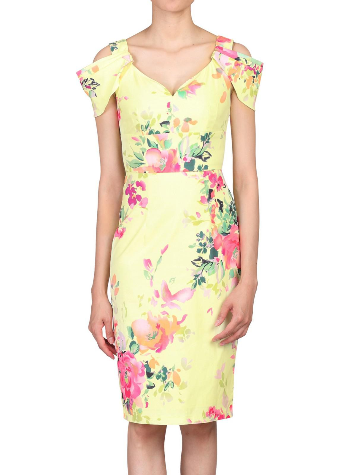 8f7e855e53aa Jolie Moi Floral Print Shoulder Structured Dress in Yellow - Lyst