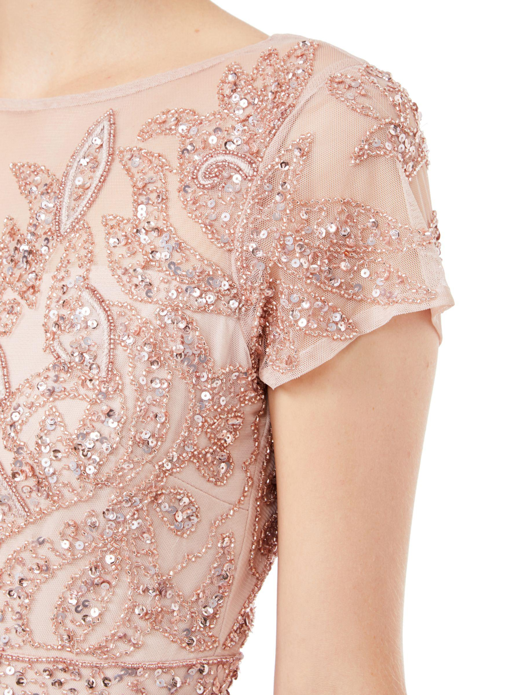 394d4144 Adrianna Papell Short Sleeve Beaded Cocktail Dress in Pink - Lyst