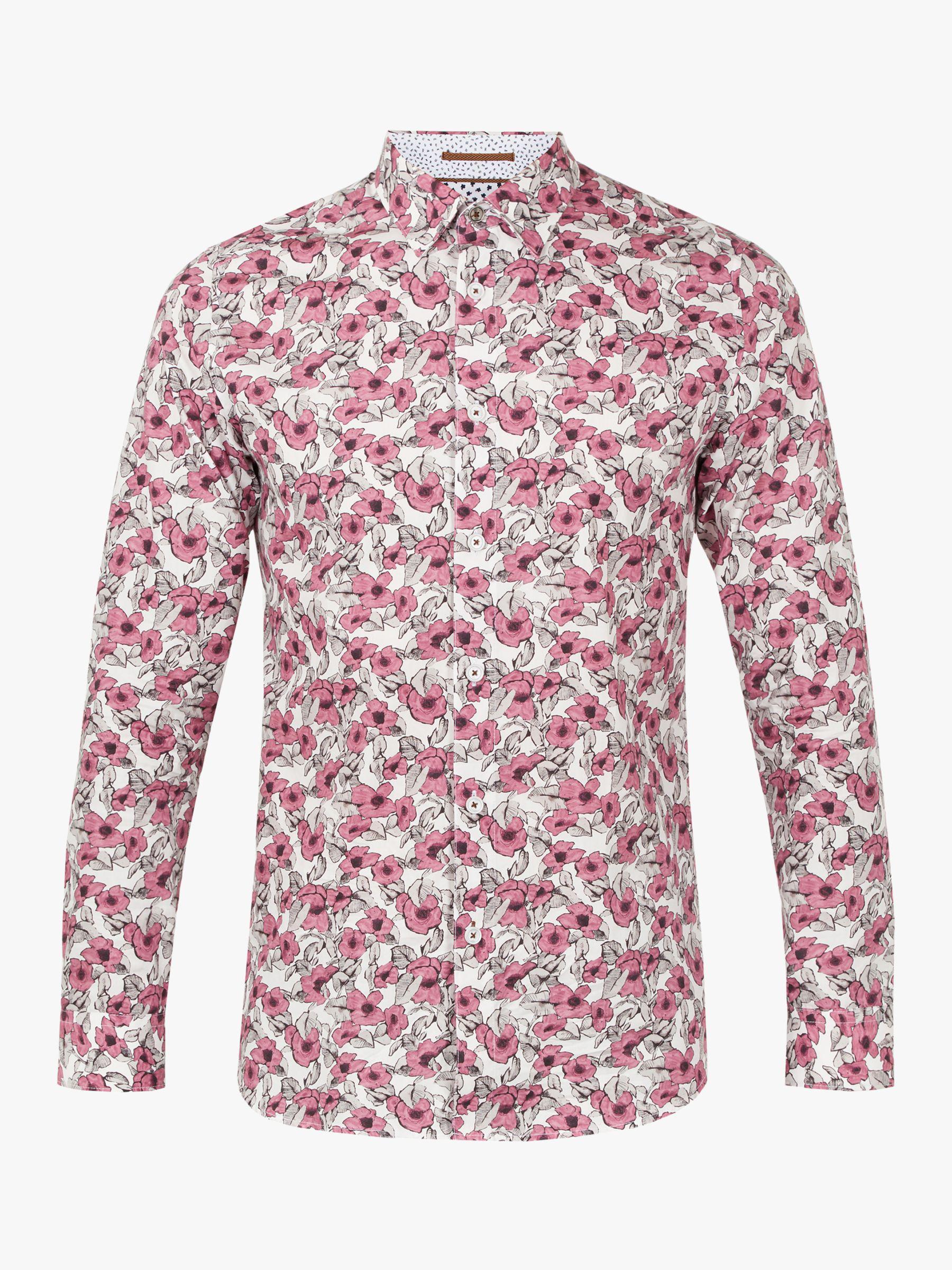 07616afe5 Ted Baker Croydon Long Sleeve Floral Shirt in Pink for Men - Lyst