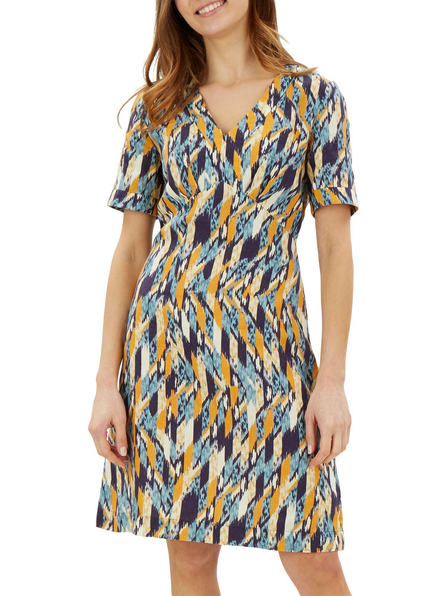 Jaeger Abstract Linen Dress in Blue - Lyst 42613e43f