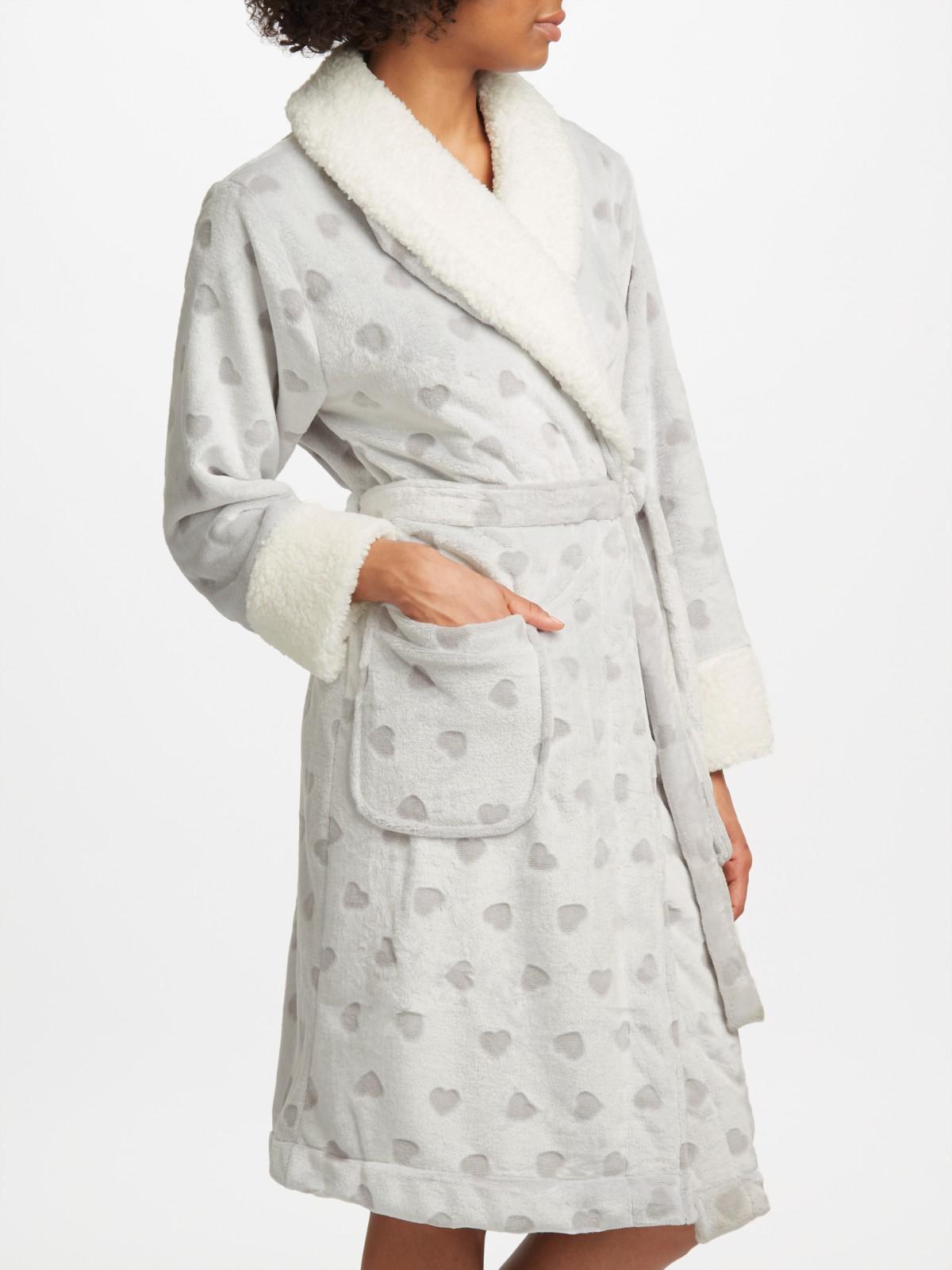 John Lewis Heart Embossed Fleece Dressing Gown in Gray - Lyst