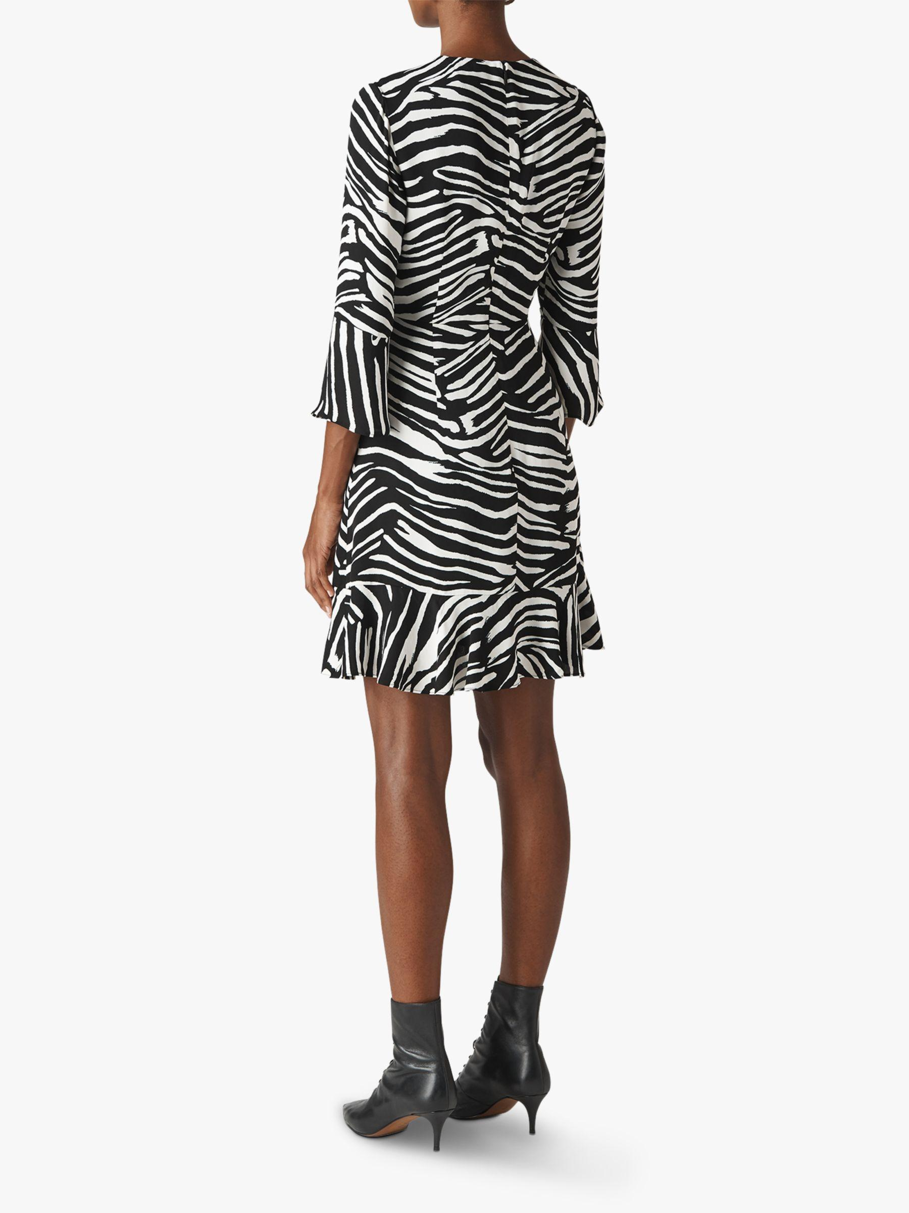 c85533448c4f Whistles Zebra Print Flippy Dress in Black - Lyst