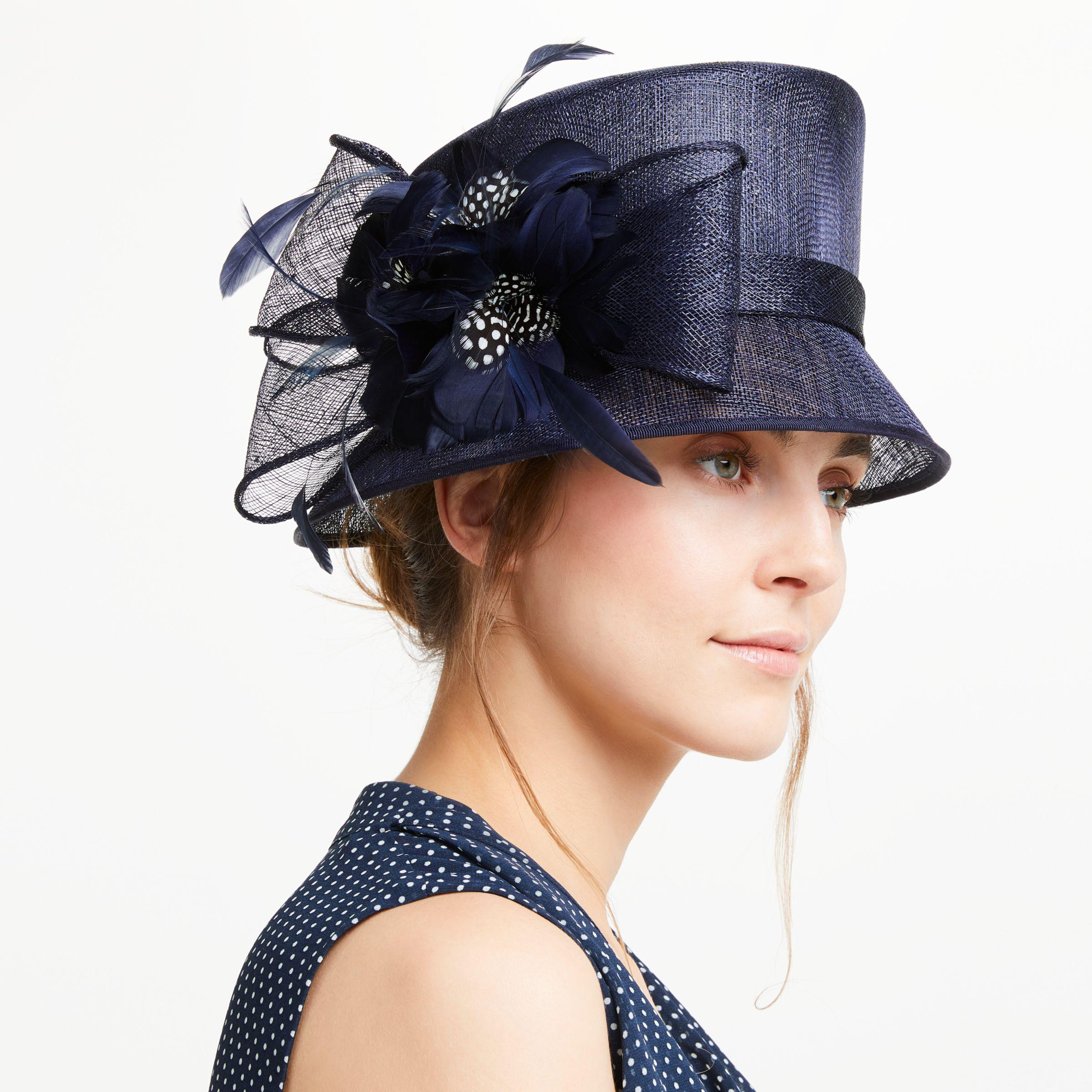 761fcca17d1a5 John Lewis Irene Down Brim Spot Feather Flower Occasion Hat in Blue ...